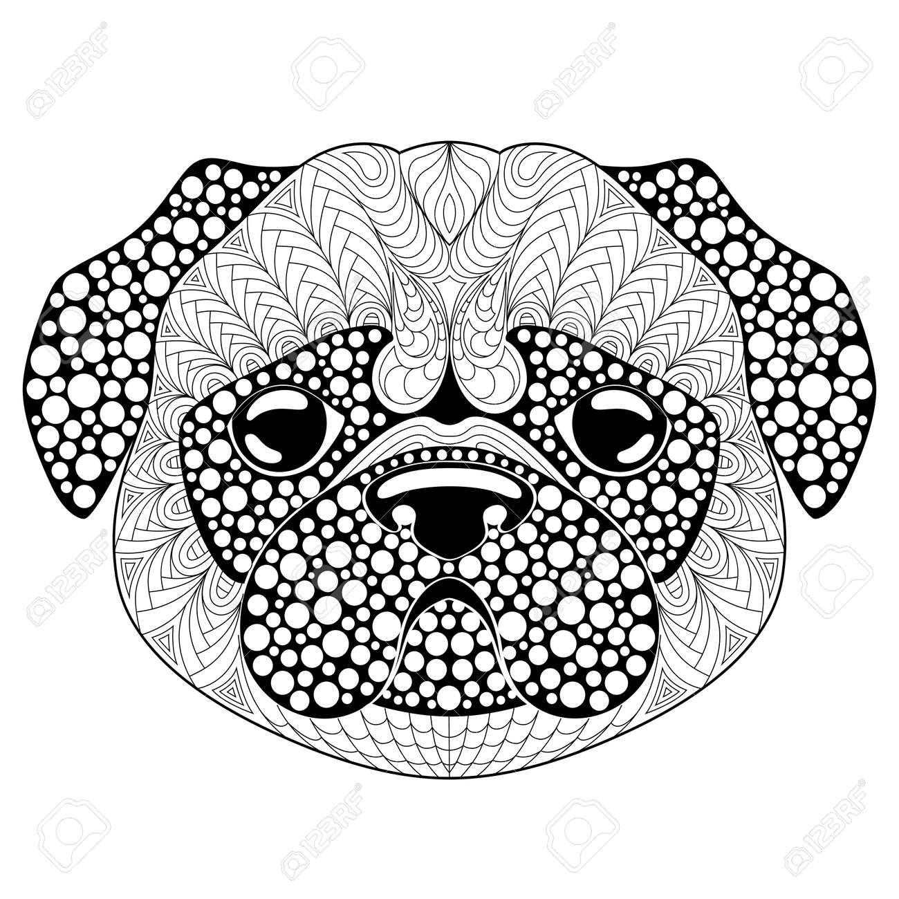 Pug Dog Head. Tattoo Or Adult Antistress Coloring Page. Black And White  Hand Drawn