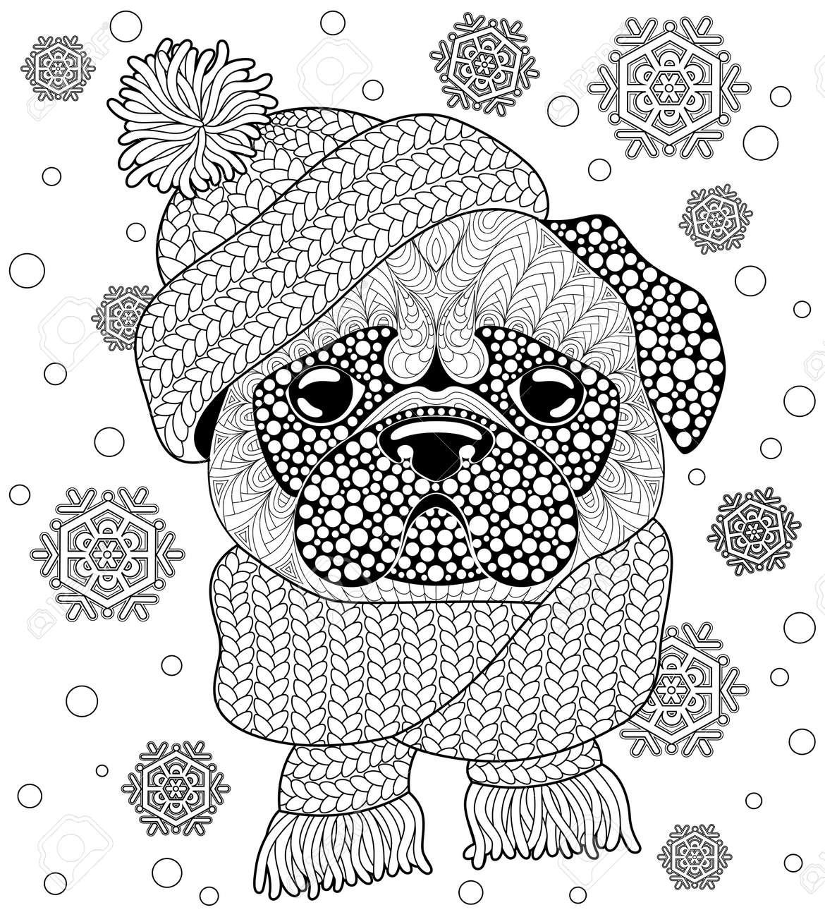 Coloriage De Chien Carlin.Chien Carlin Avec Bonnet Et Echarpe Coloriage Tatouage Ou Anti Stress Adulte Doodle Dessine Main Noir Et Blanc Pour Cahier De Coloriage