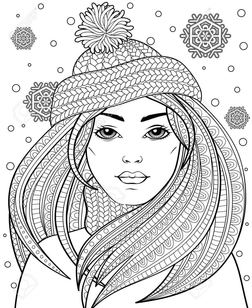 Beautiful girl coloring pages Royalty Free Vector Image | 1300x1063