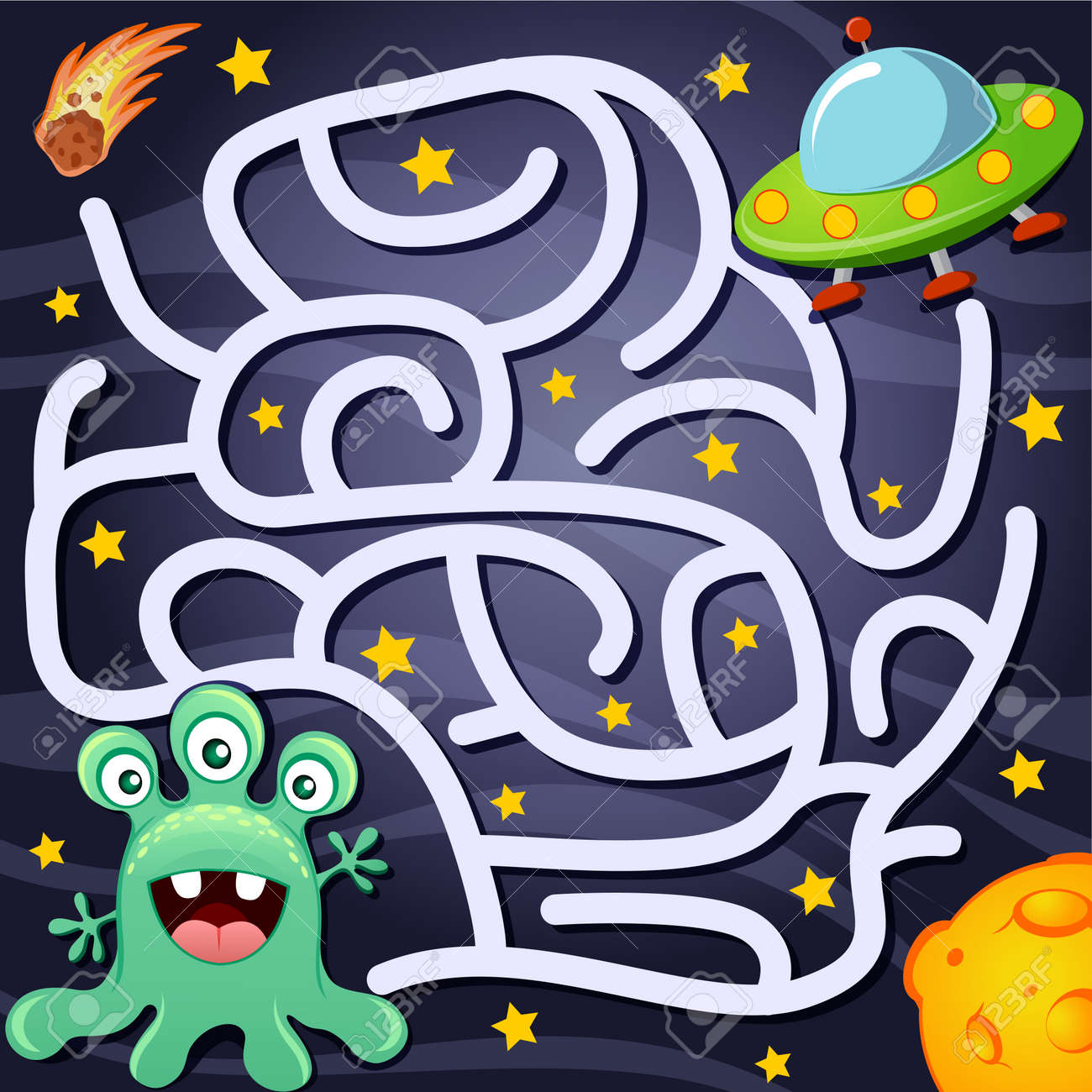 Help alien find path to UFO. Labyrinth. Maze game for kids - 94931409