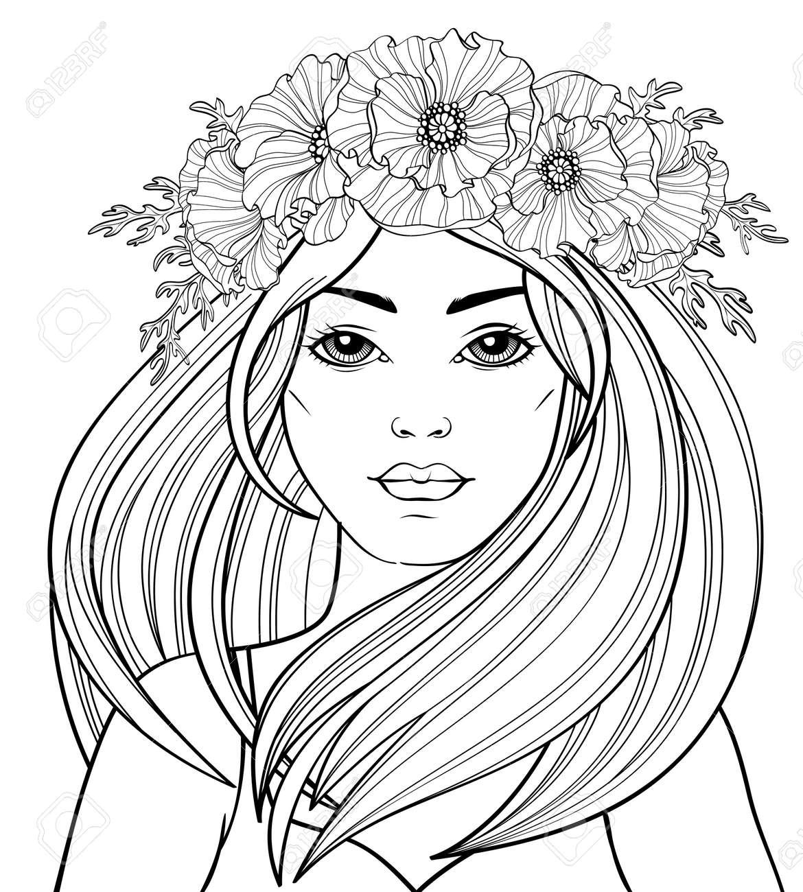Coloriage Fille Cheveux Longs.Belle Jeune Fille Aux Cheveux Longs En Jupe De Henne Tatouage Ou Adulte Antistress Adulte Doodle Et Blanc A La Main Antistress Vintage Pour Livre De