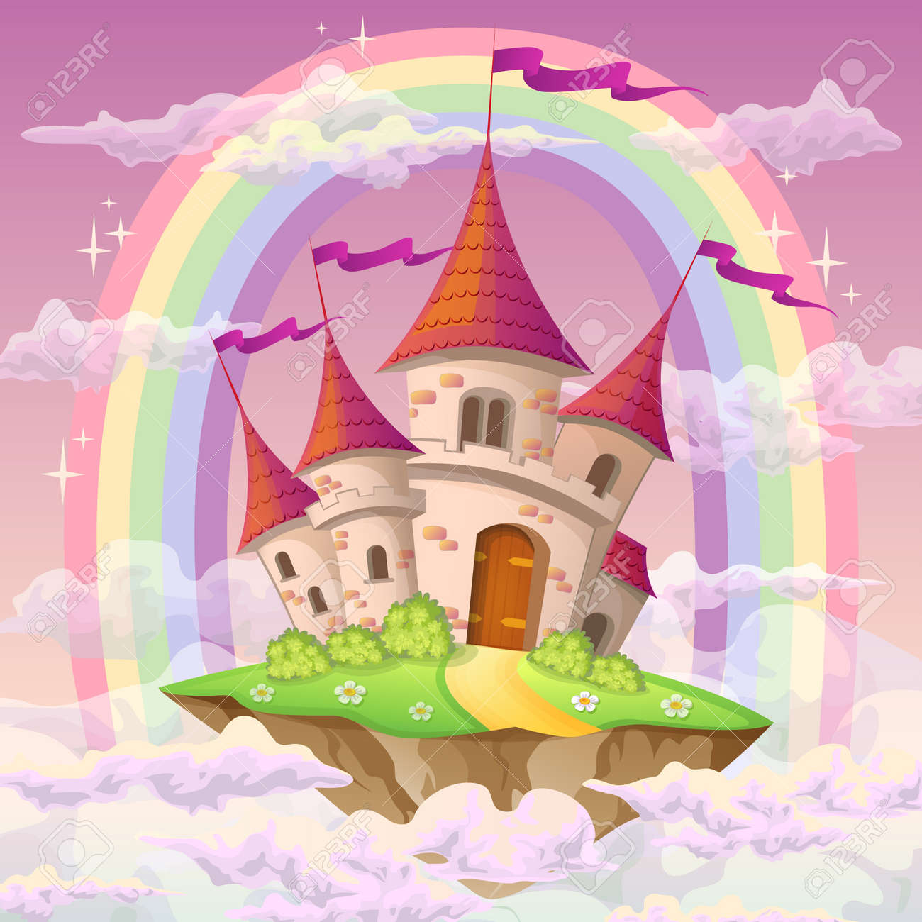 Fantasy flying island with fairy tale castle and rainbow in clouds - 105038937