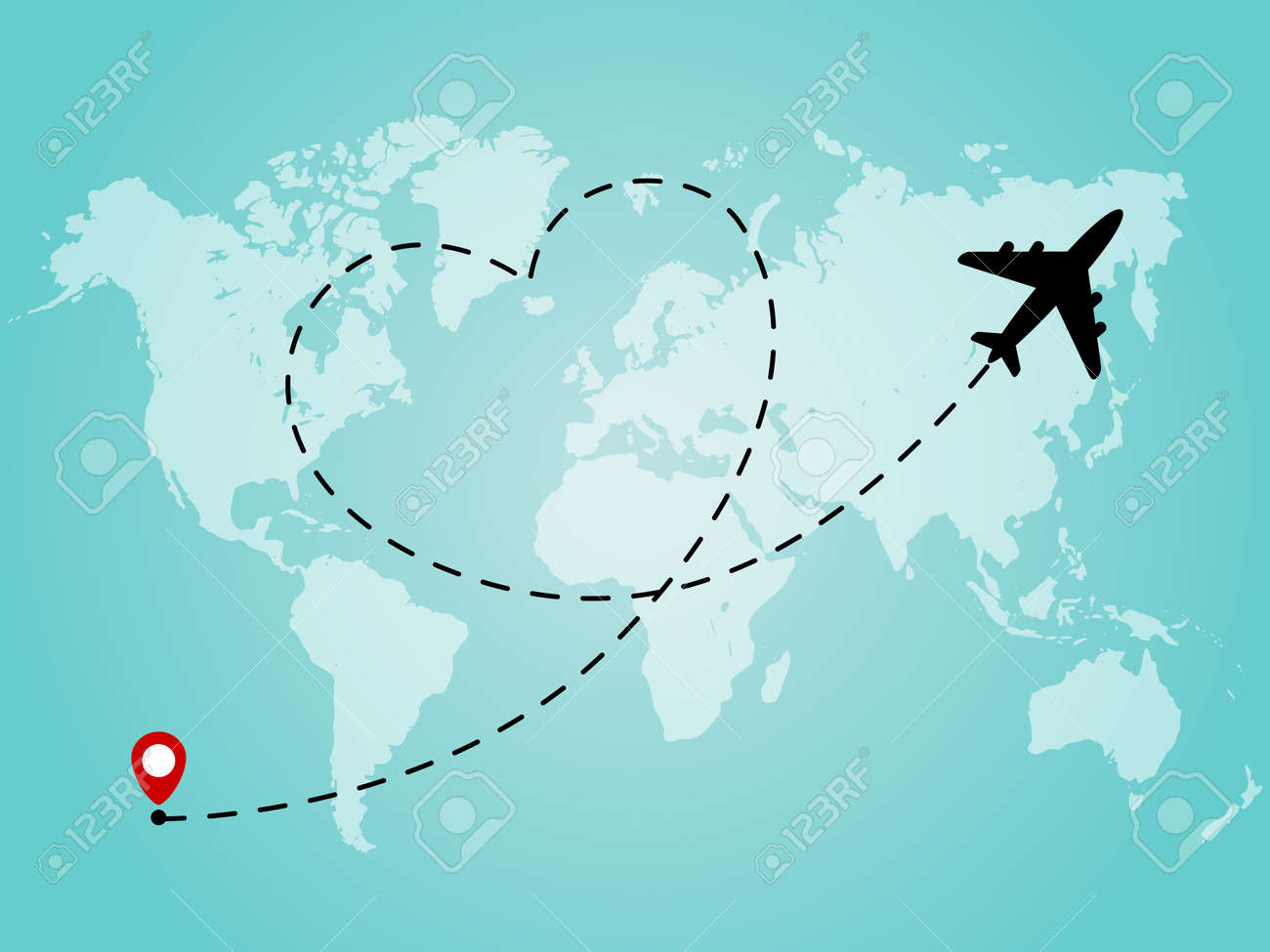World Map With Airplane Line Path In Heart Form Romantic And
