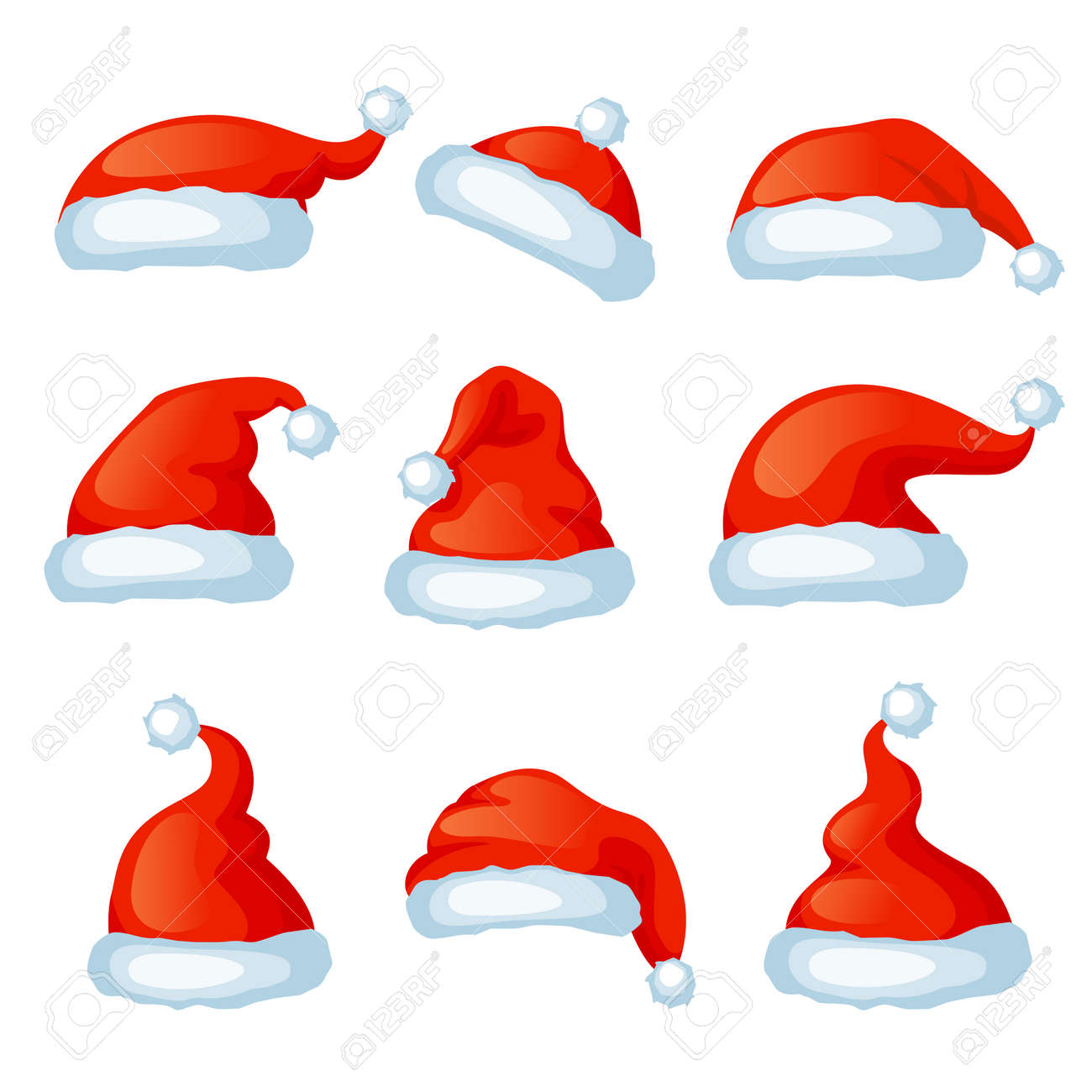 Vector set of red santa hats. Xmas photo booth. Merry Christmas and Happy New Year - 134913496