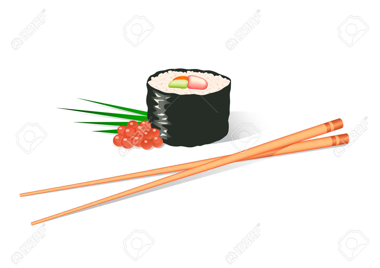 Illustration of a sushi roll and chopsticks Stock Vector , 2646055