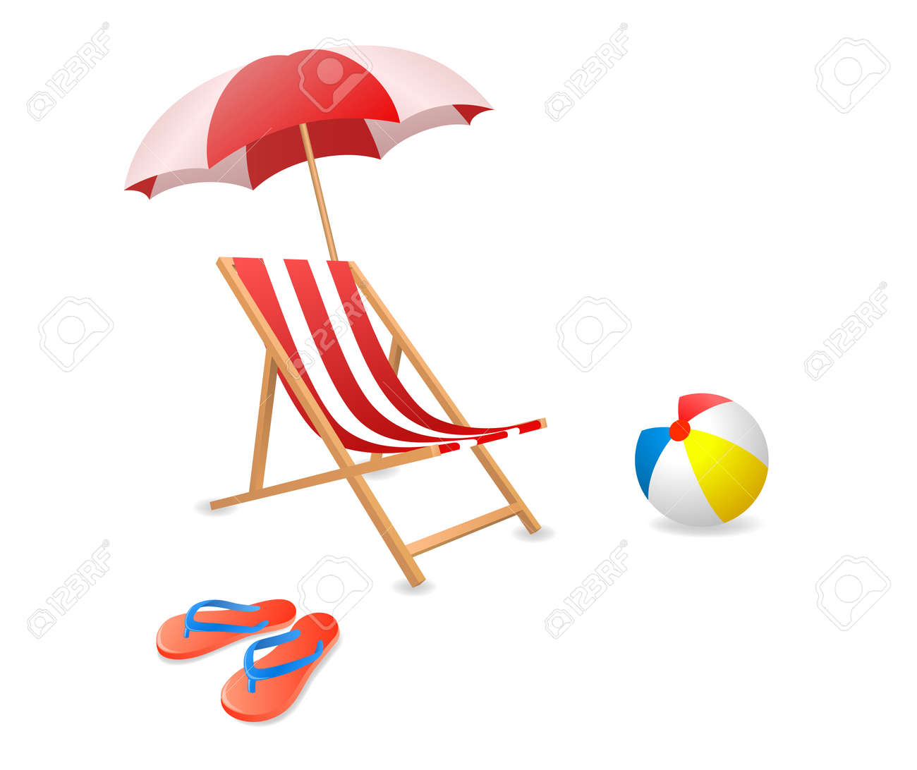 Beach chair and umbrella - Beach Umbrella Vector Illustration Of A Beach Chair With Umbrella