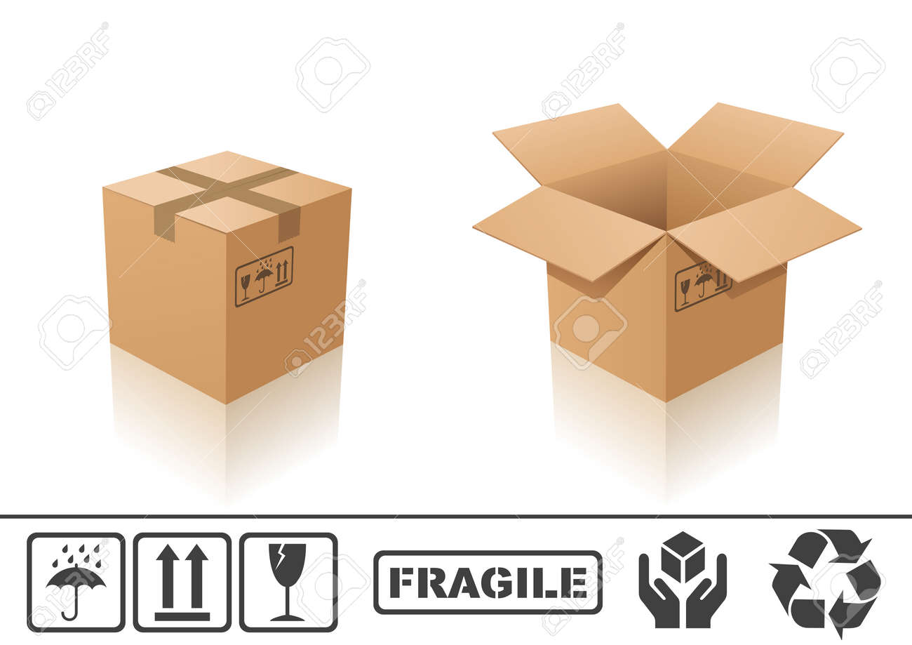 Vector illustration of cardboard box. Closed and open Stock Vector - 3507243