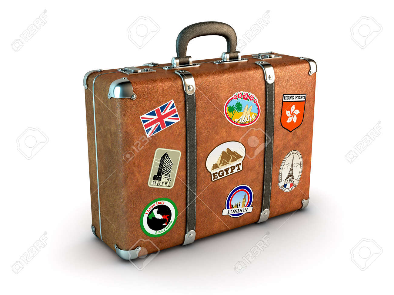 Travel Suitcase With Stickers Computer Generated Image Stock Photo ...