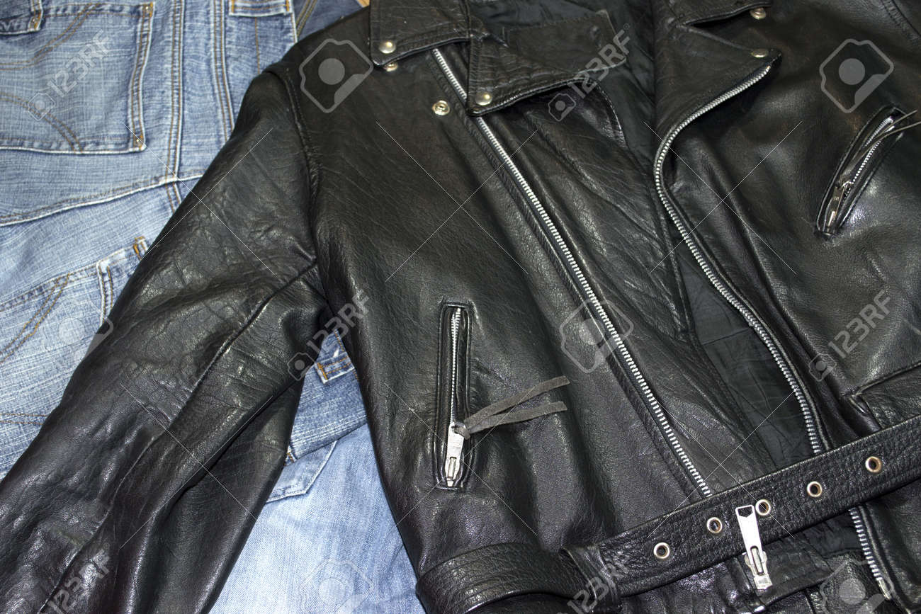 classic style leather studded jacket over denim pants - 11296808