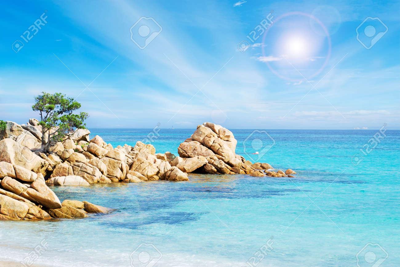 detail of Capriccioli beach in Costa Smeralda, Sardinia - 19396093