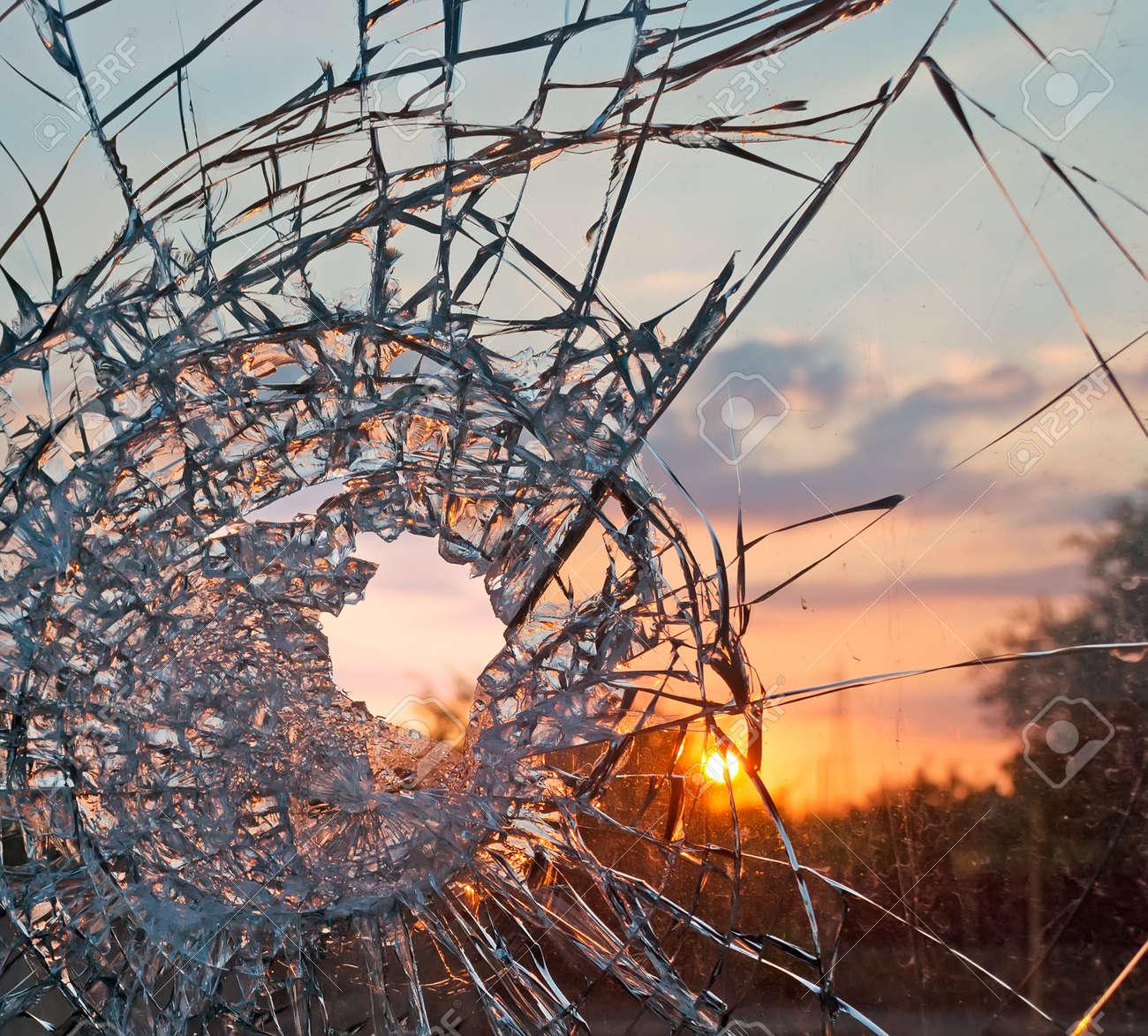 broken glass at sunset - 22922133