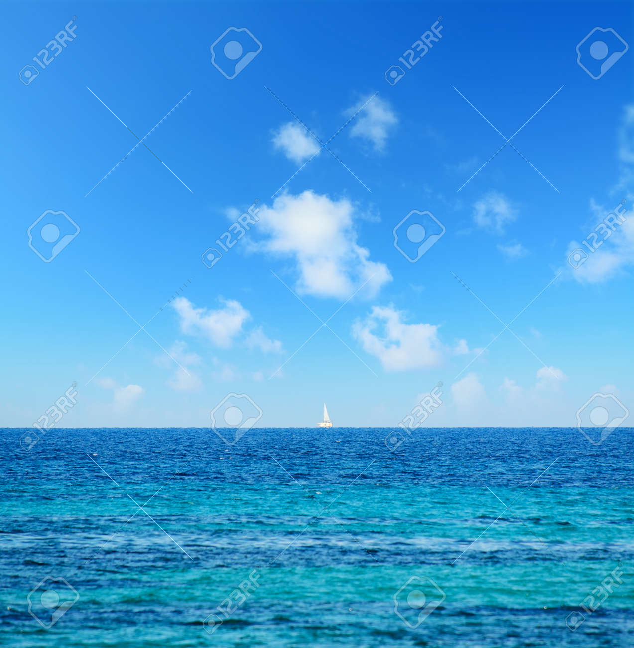 boat at the horizon with fata morgana effect, Sardinia - 43417092