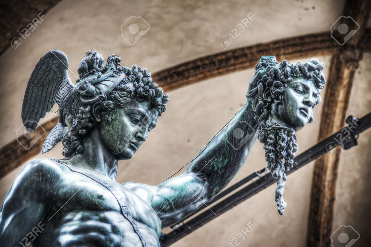 Detail Of Perseo Holding Medusa Head Statue In Loggia De Lanzi