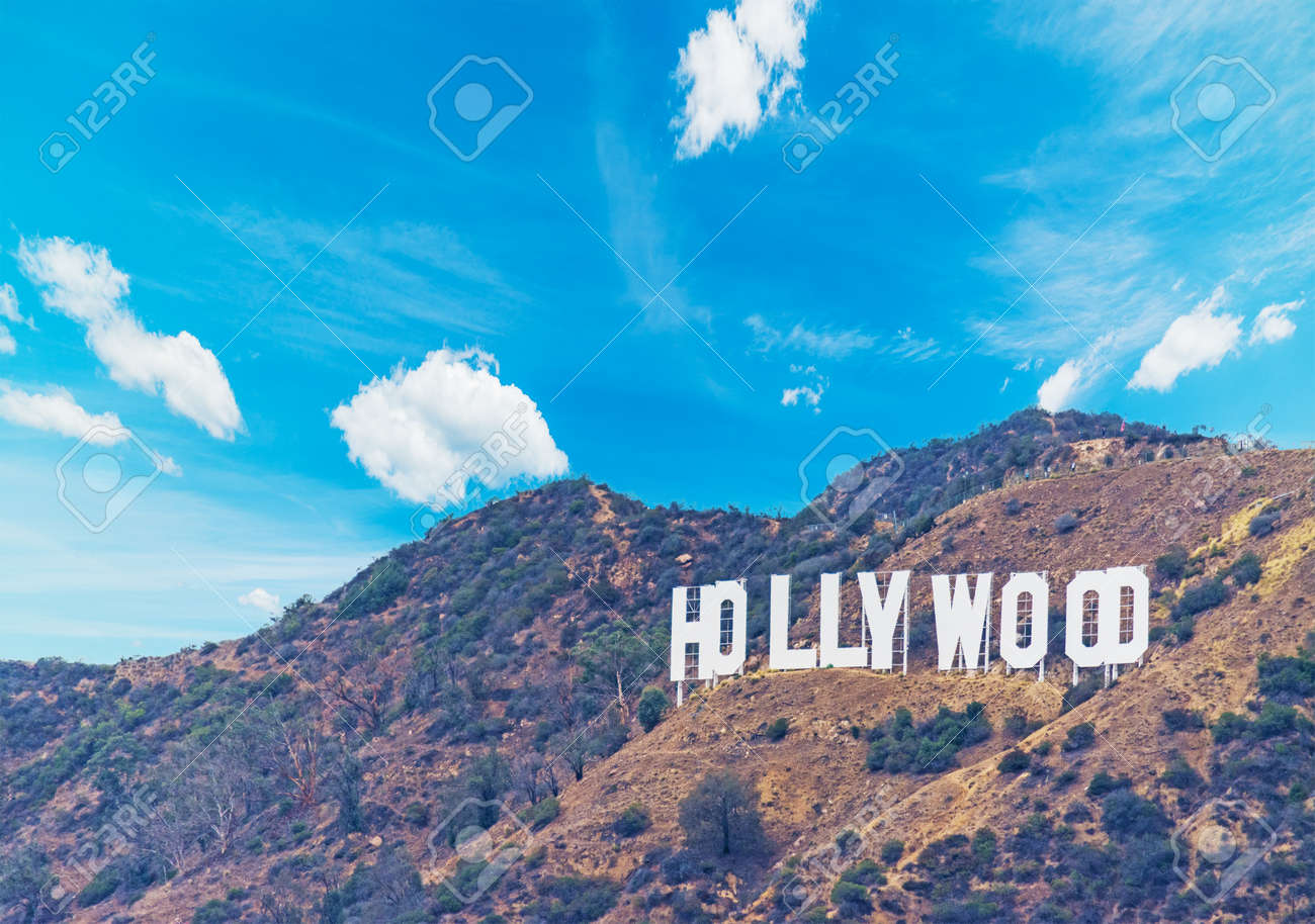 Hollywood sign under a blue sky with clouds, California - 66047577