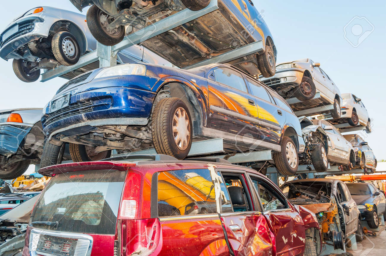 Pile Of Old Cars In A Car Breaker Junk Yard Stock Photo, Picture ...
