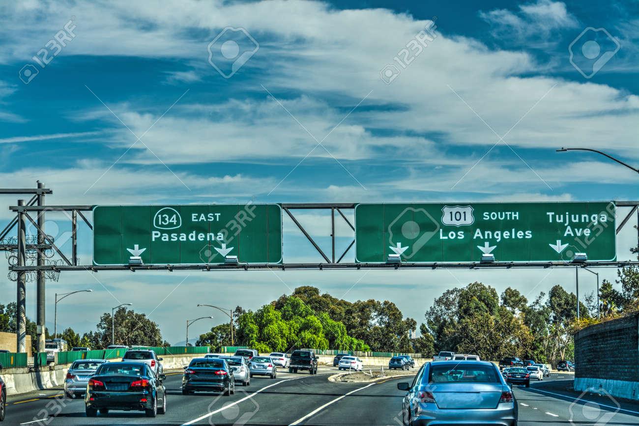 traffic in 101 freeway los angeles california usa stock photo