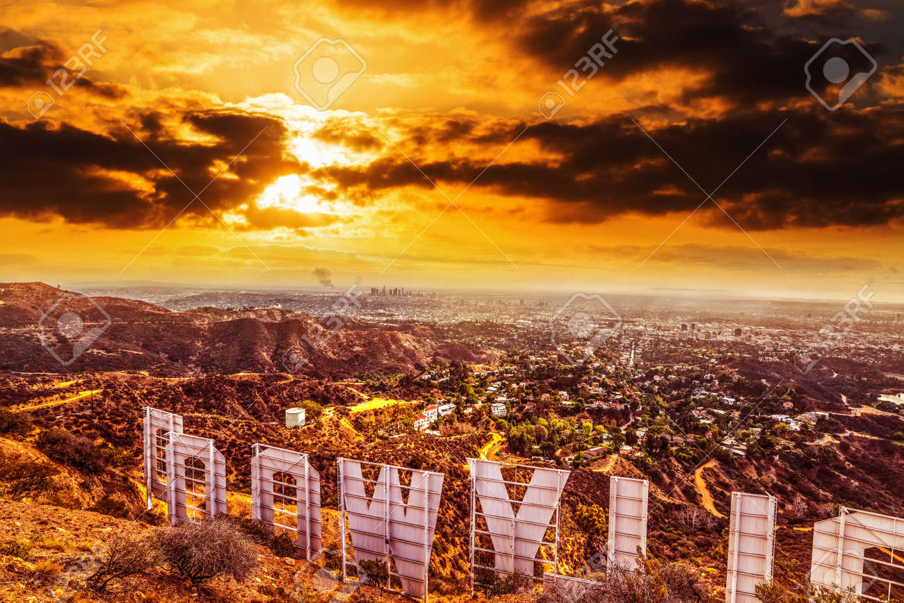 Los Angeles, CA, USA - October 28,2016: Colorful sky over Hollywood sign - 88937090