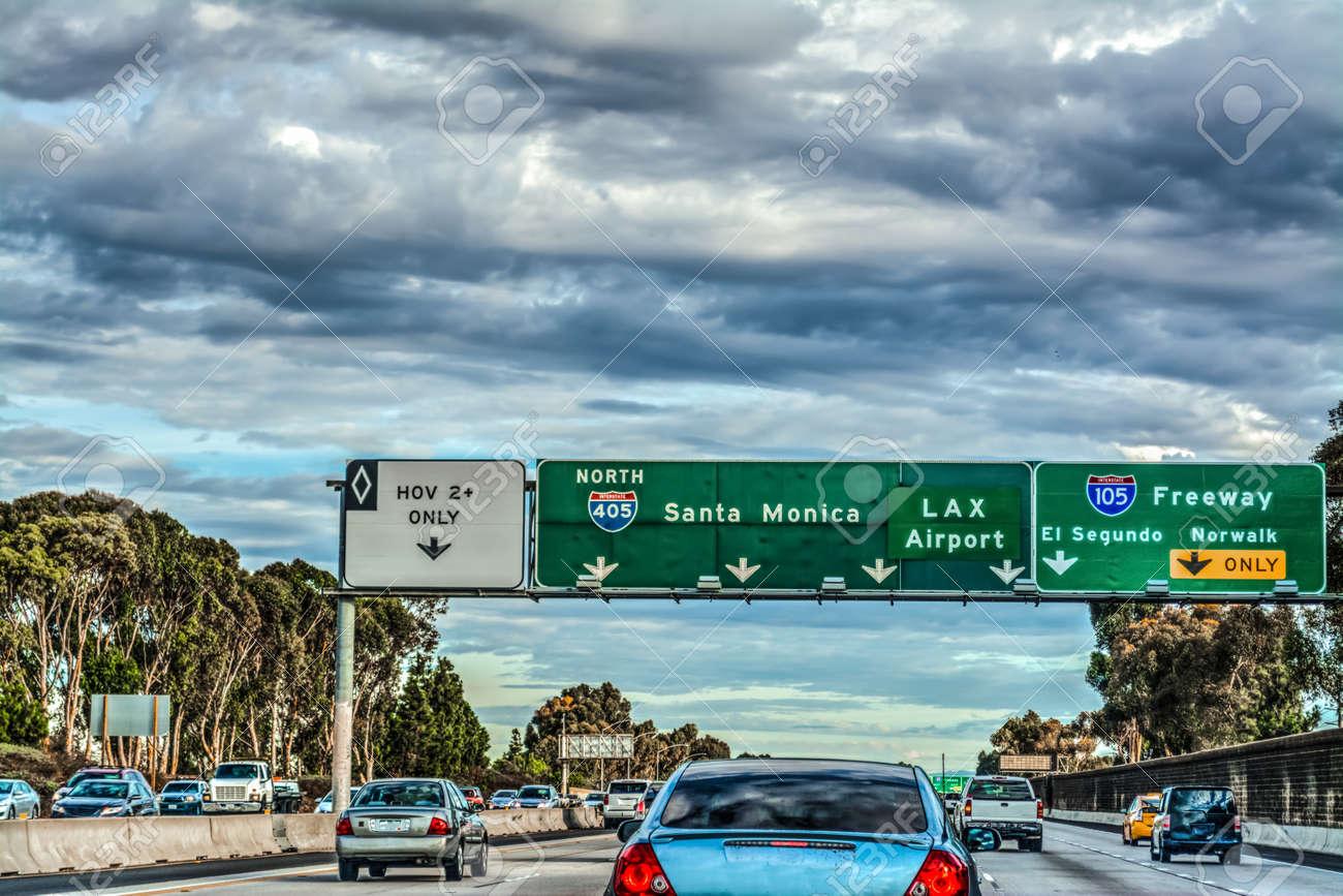 Exit signs in 405 freeway in Los Angeles, California