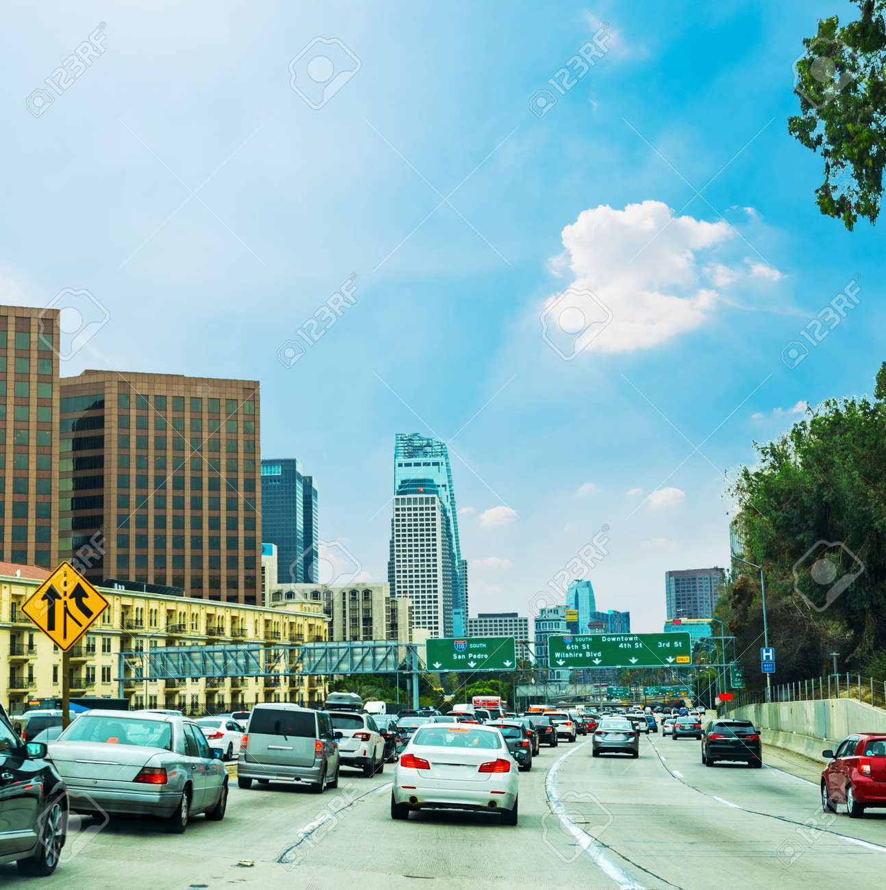 Traffic in 110 freeway in Los Angeles, California
