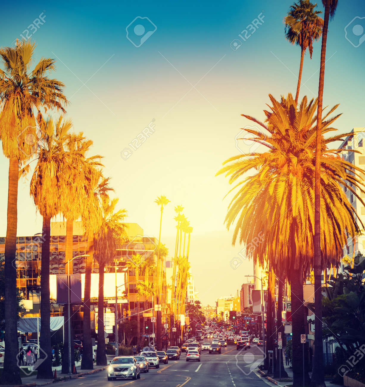 Colorful sunset in Hollywood. Los Angeles, California - 132226352