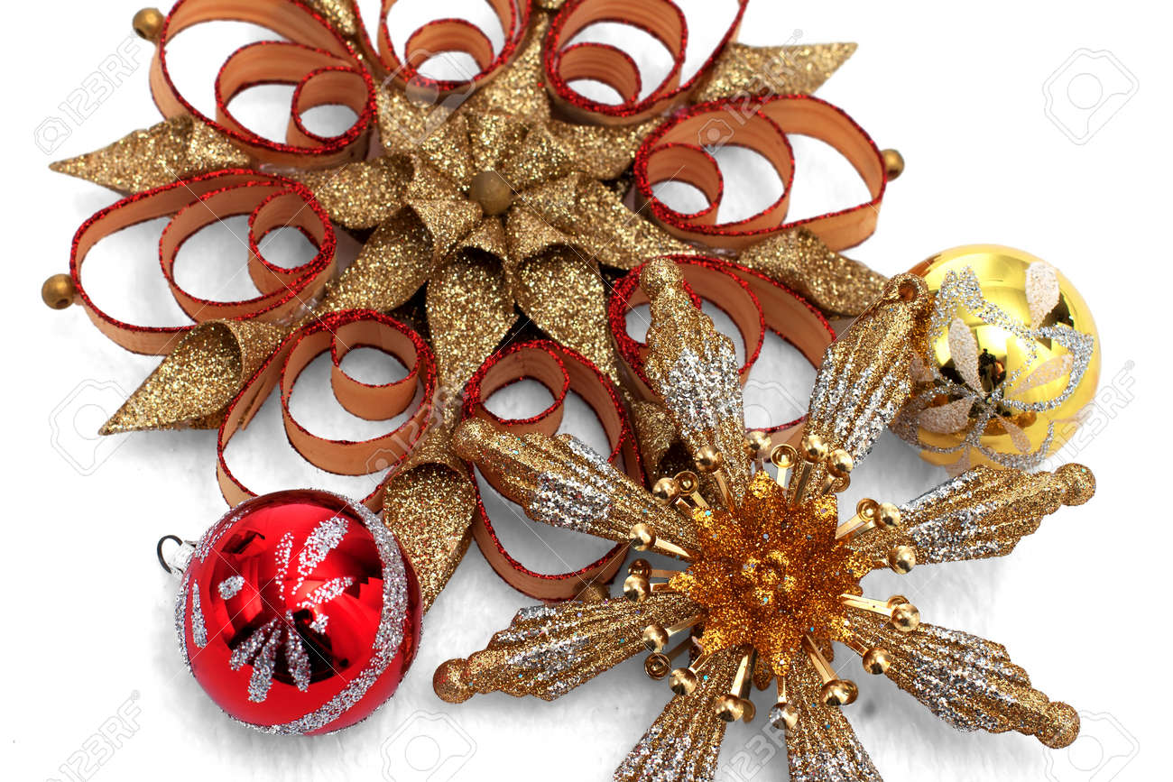 Christmas ornament holders - Red And Gold Christmas Ornament Display Stock Photo 16272502