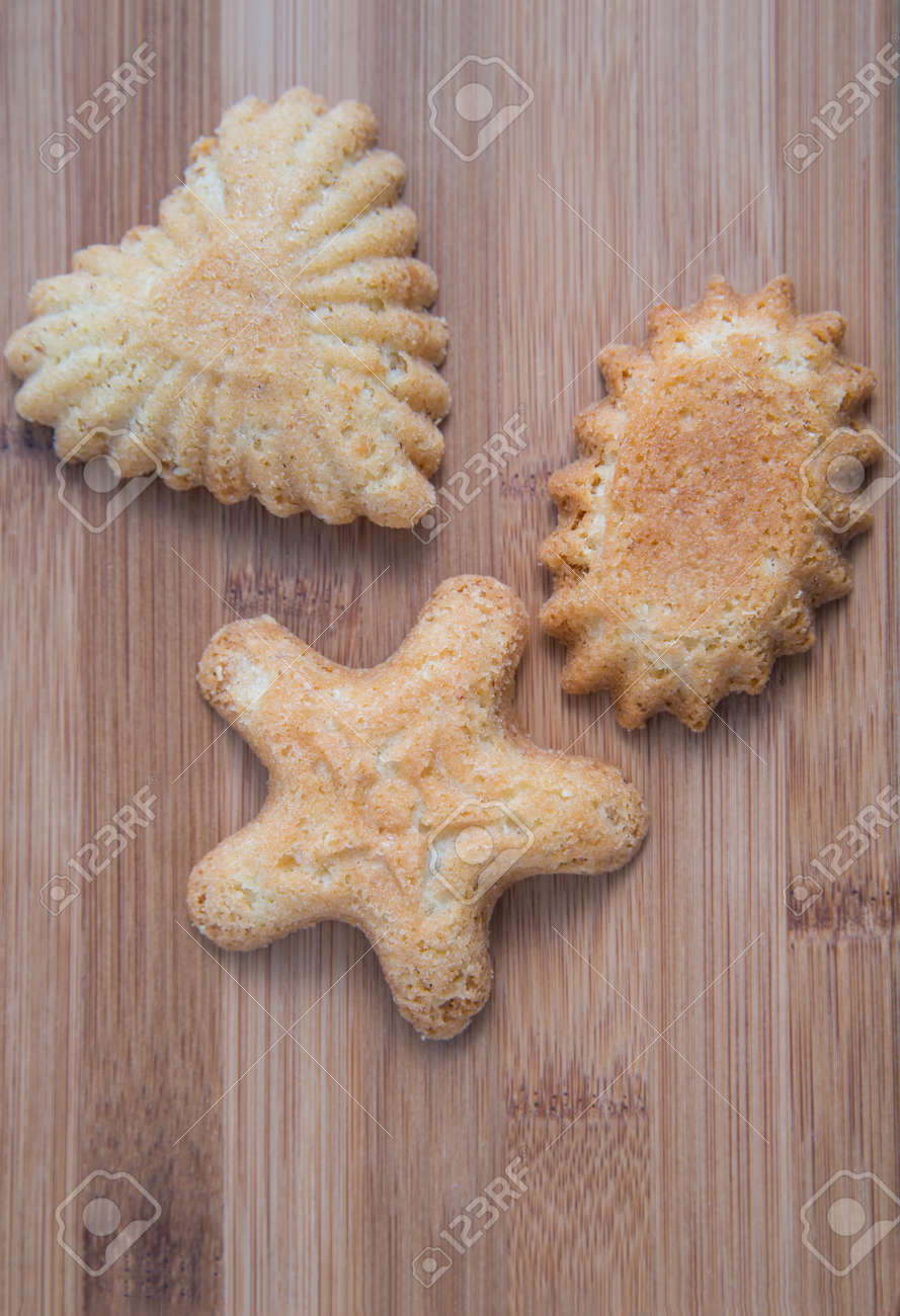 Three Norwegian Christmas Shortbread Cookies On A Wooden Bamboo ...