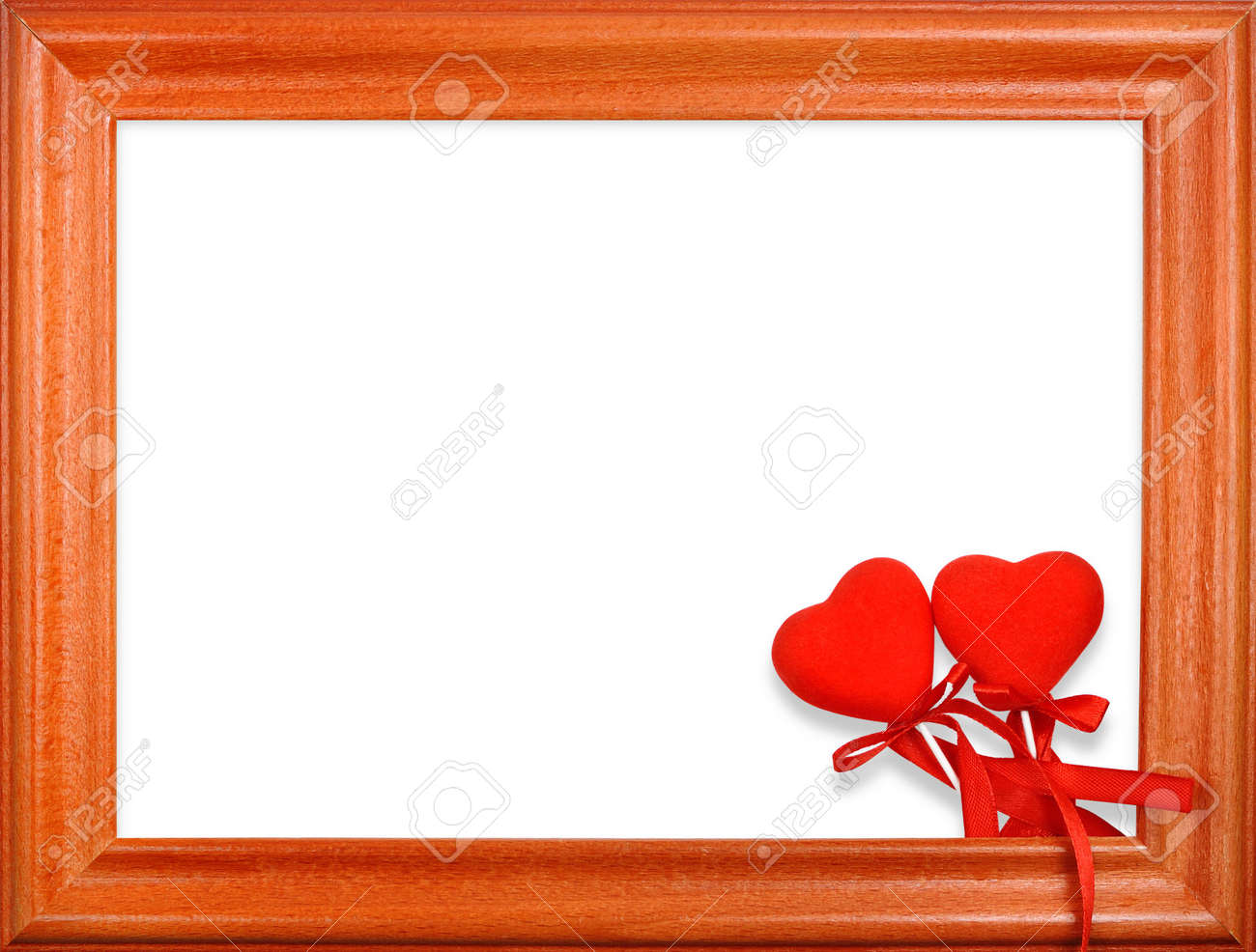Valentine's Day two hearts in a frame on a white background Stock Photo - 7607902