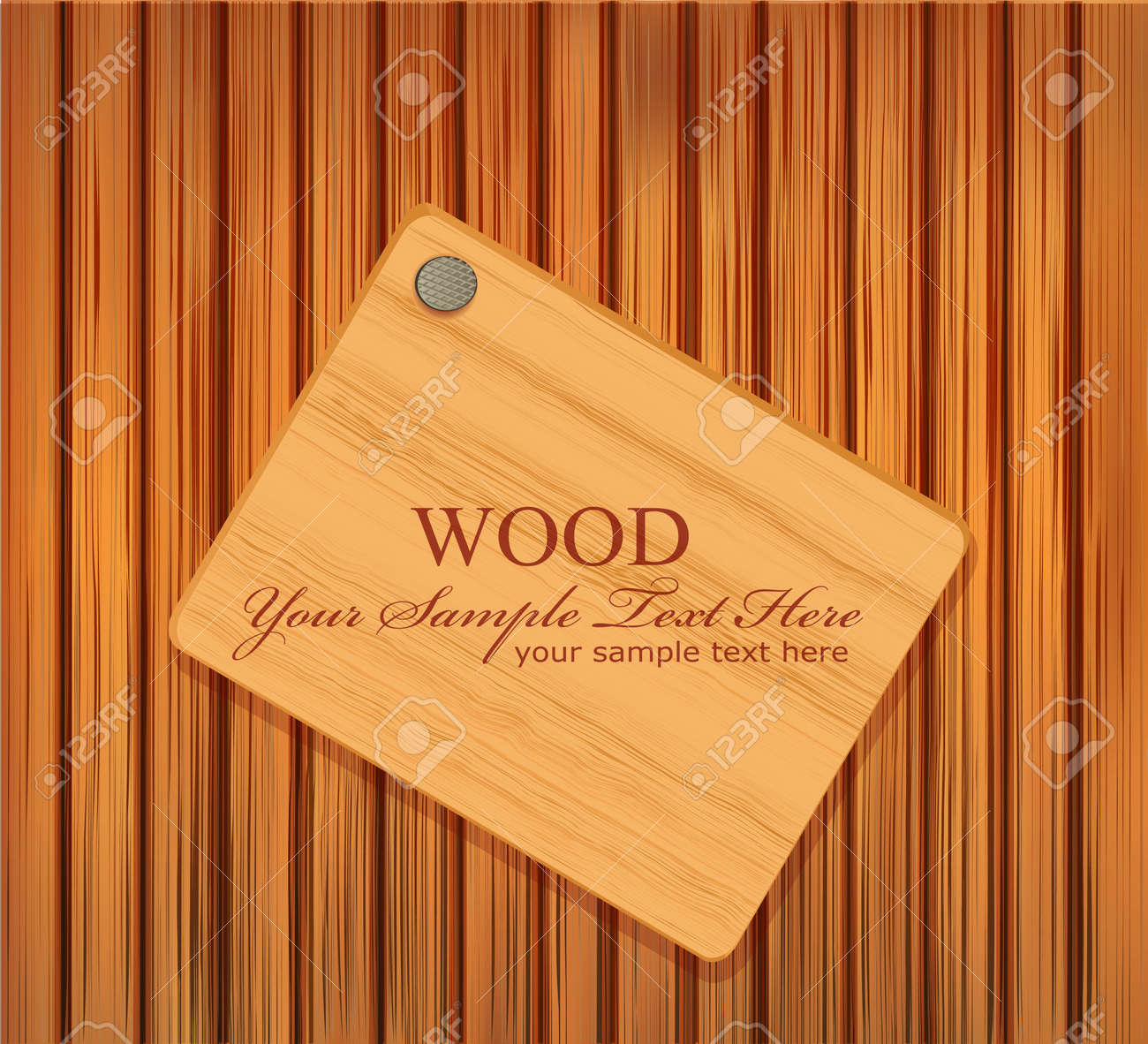 vector wooden plaque nailed to a wooden background Stock Vector - 8987549