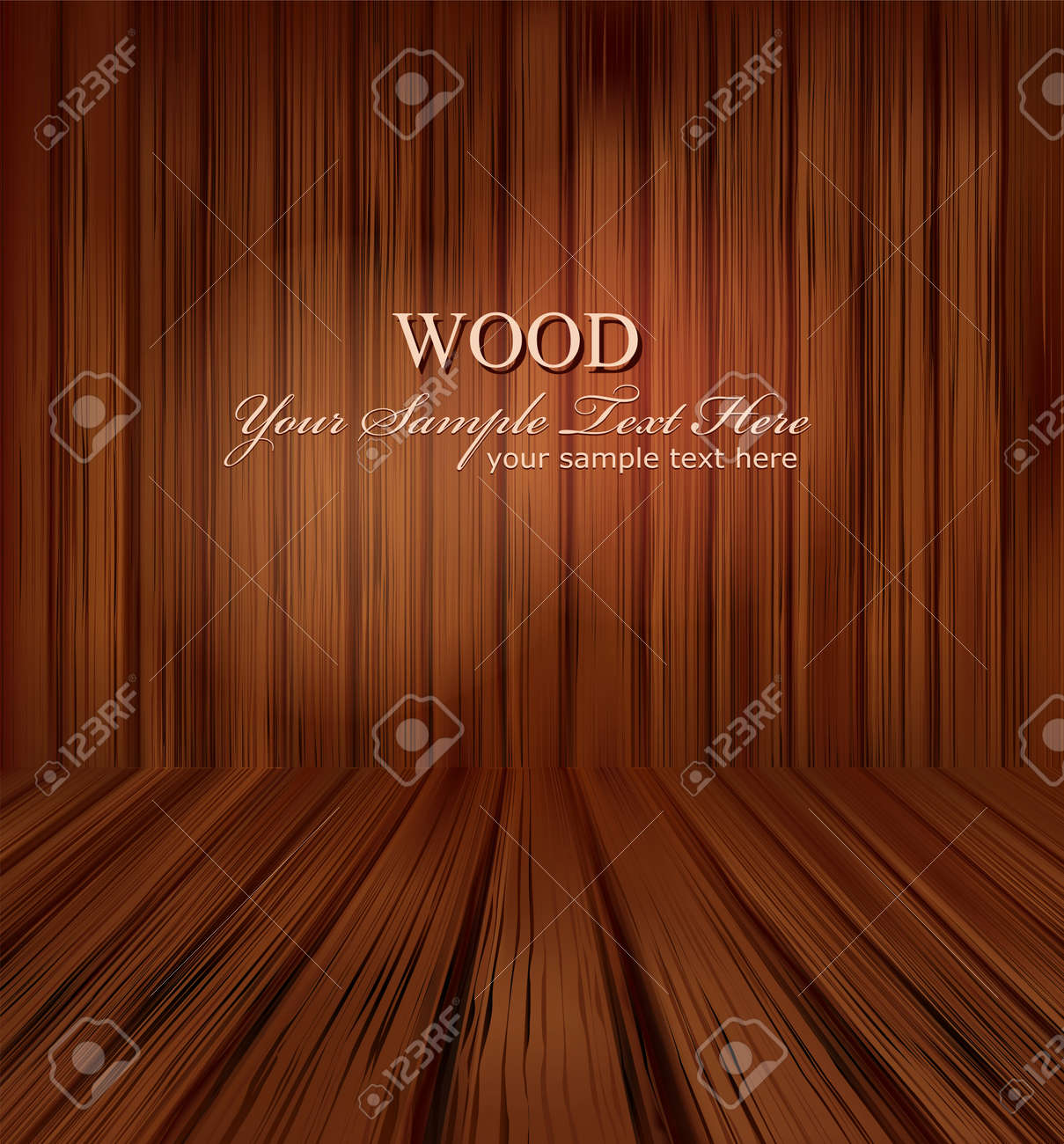 vector wooden planks interior with Illuminated Stock Vector - 8987547
