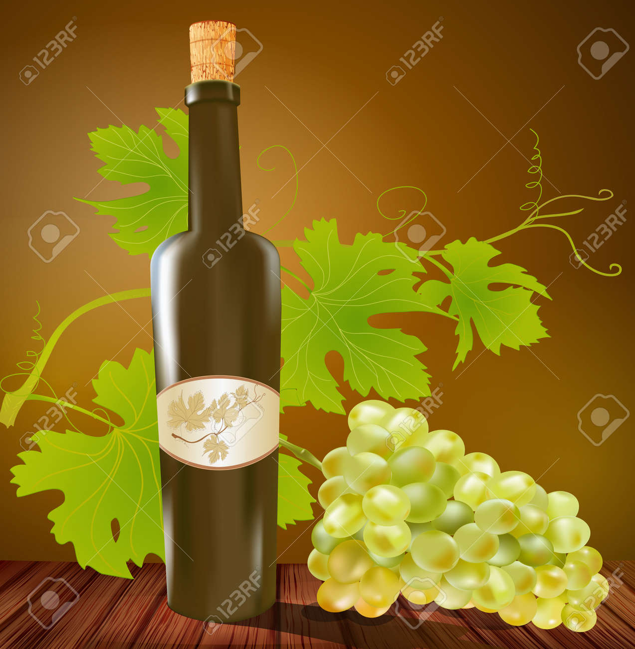 vector wine bottle and grapes on a brown background Stock Vector - 8987548