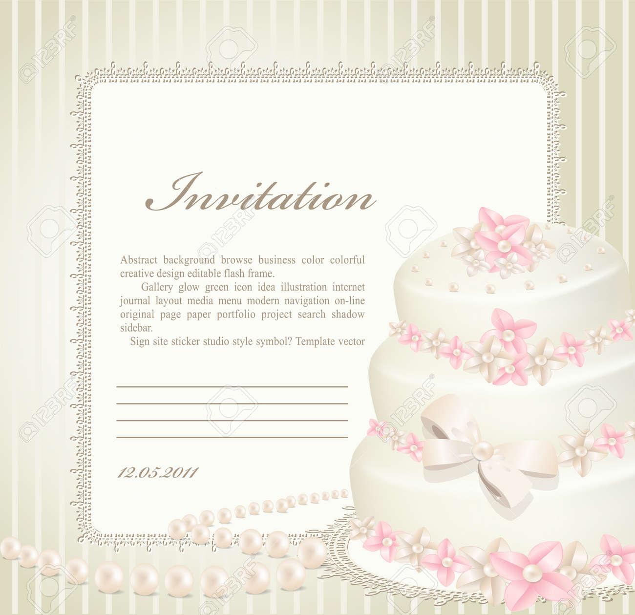Wedding Invitation, Greeting Card With A Birthday Cake Royalty Free ...