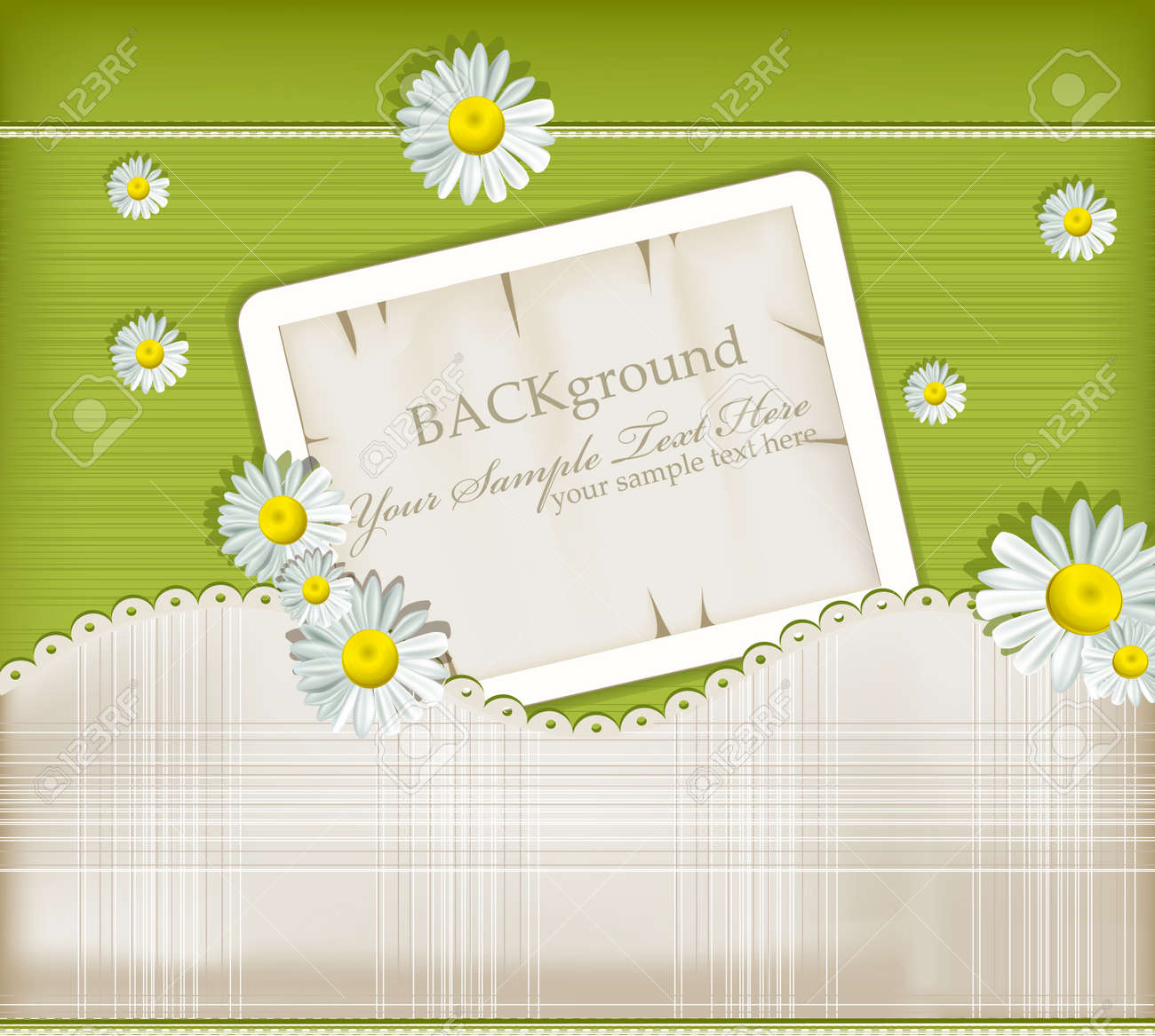 Vector greeting card on vintage background with daisies Stock Vector - 9103195