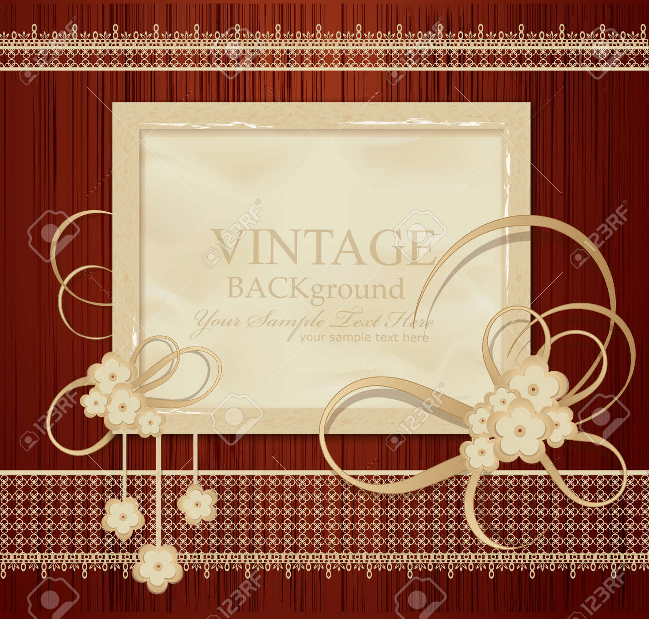 congratulation vintage background with ribbons, flowers, lace on wood Stock Vector - 9157345