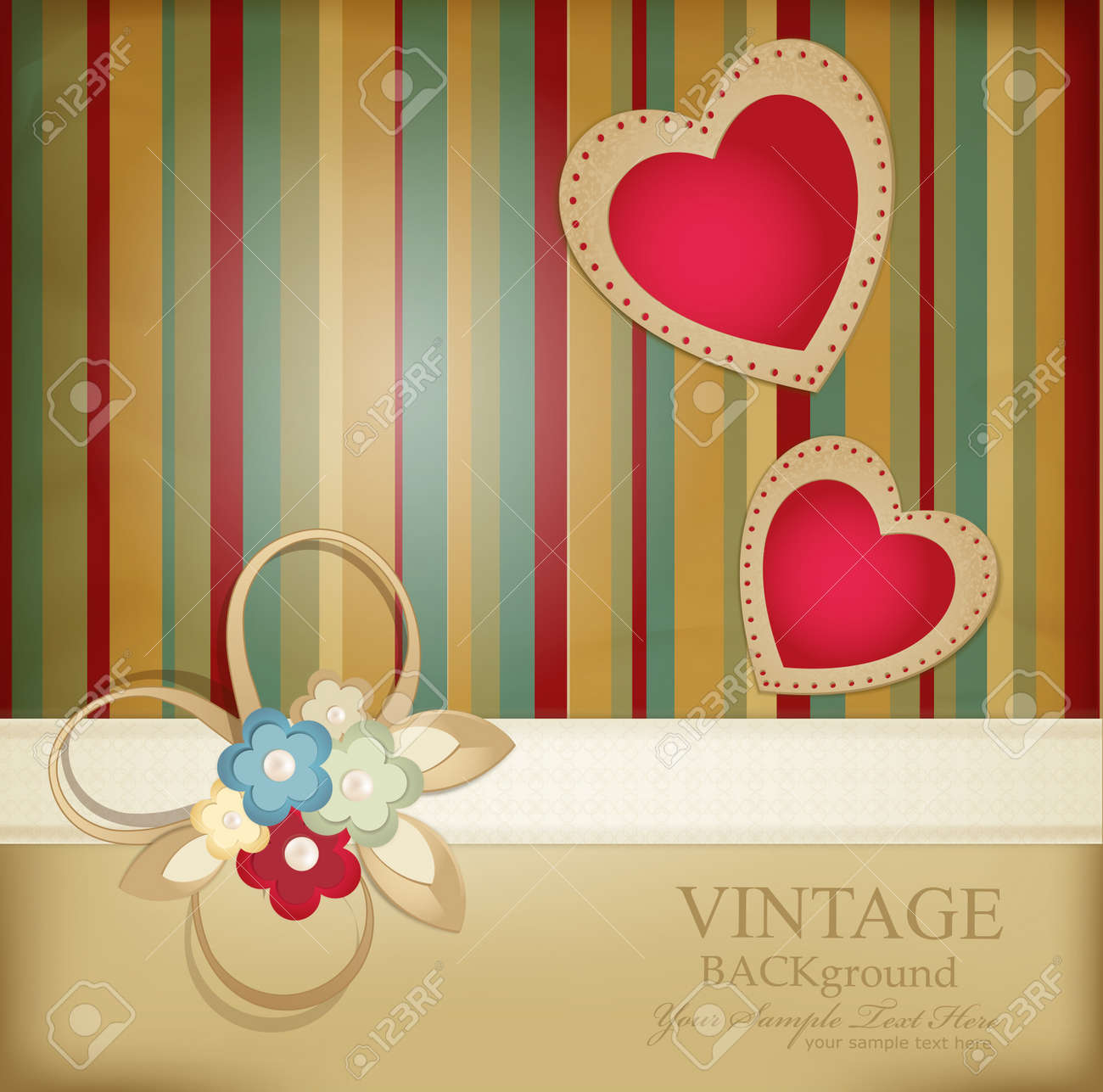 congratulation retro background with ribbons, flowers and two hearts on a striped background Stock Vector - 9157309