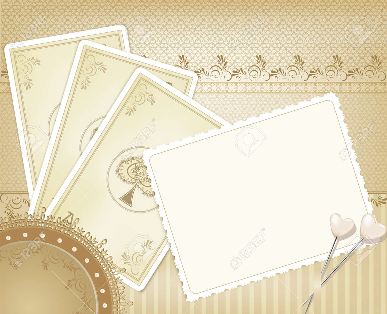 vector congratulation gold retro background with  playing cards Stock Vector - 9223837
