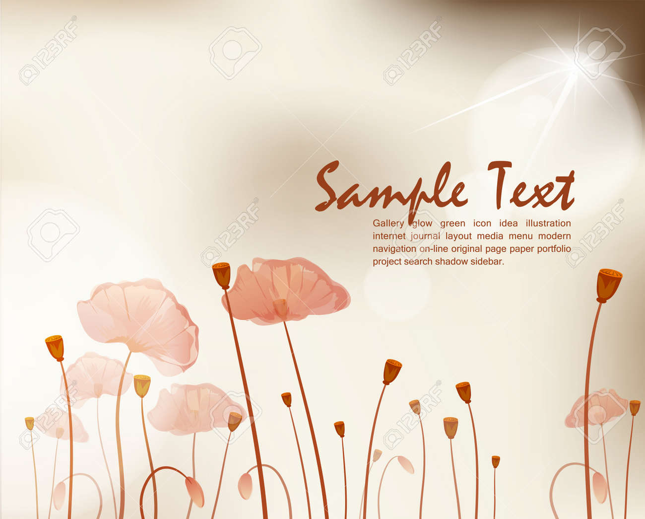 vector vintage background with poppies Stock Vector - 9306838