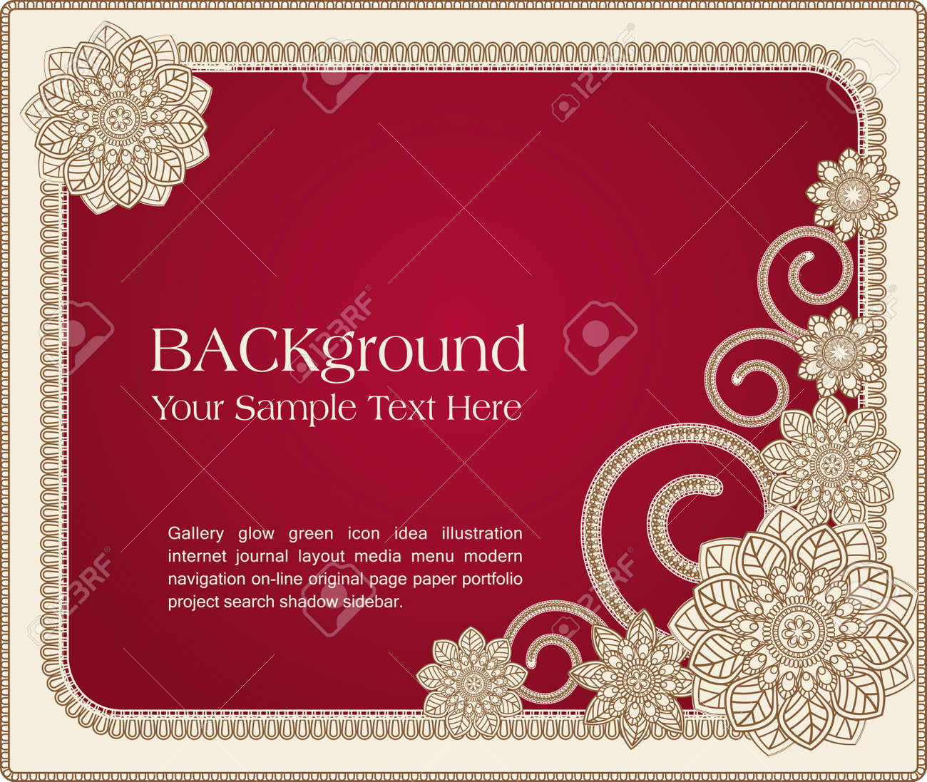 red vector frame with floral patterns - 9306846