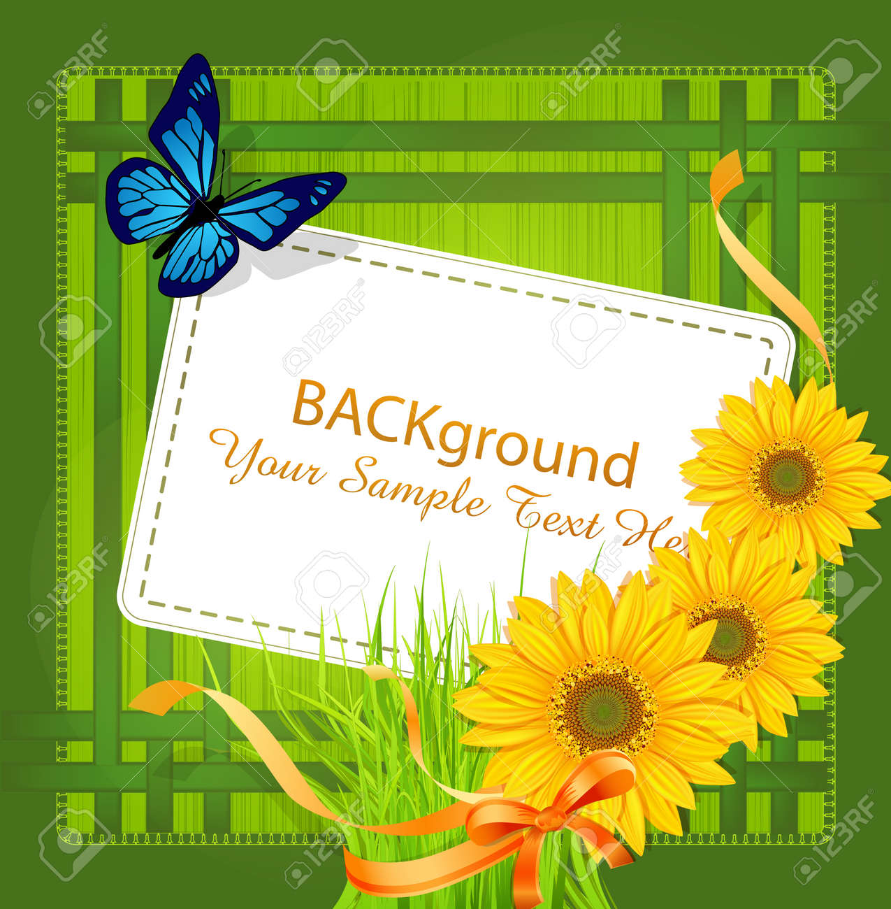 vector green background, with Sunflowers ribbons, bow and greeting card Stock Vector - 9306850