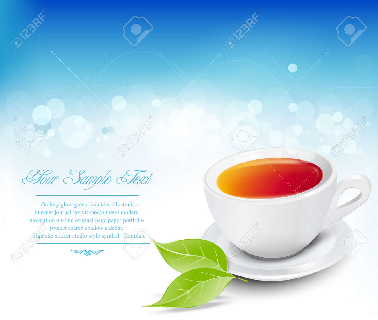 Vector white tea cup with the leaves on a blue background Stock Vector - 9413840