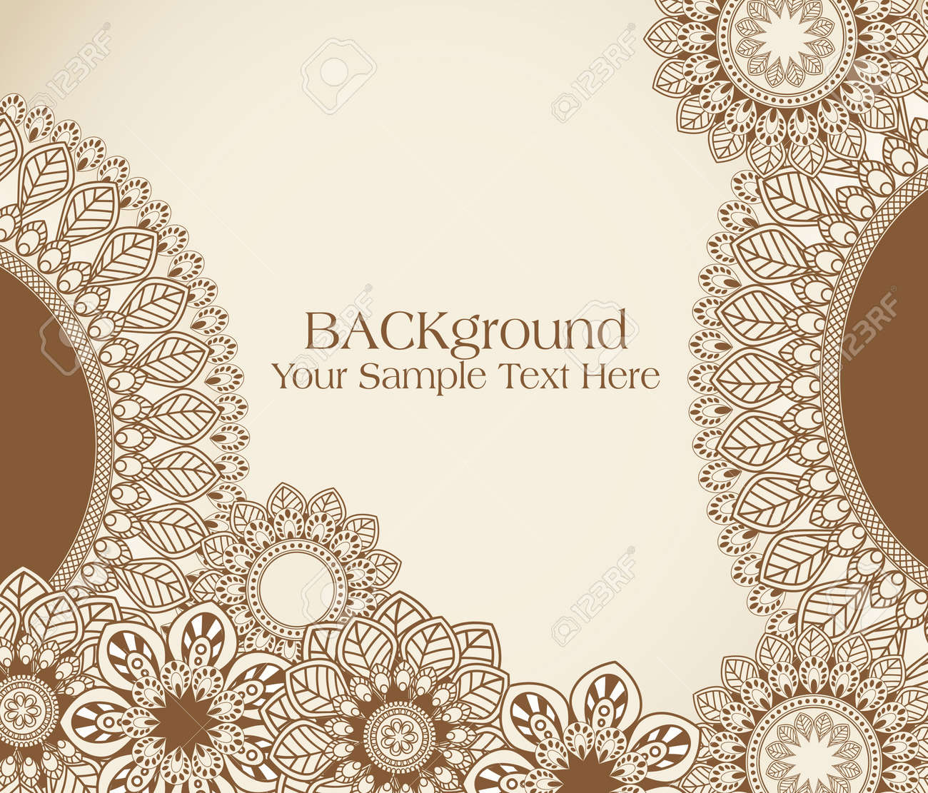 vector hand-drawn abstract flowers pattern Stock Vector - 9549764