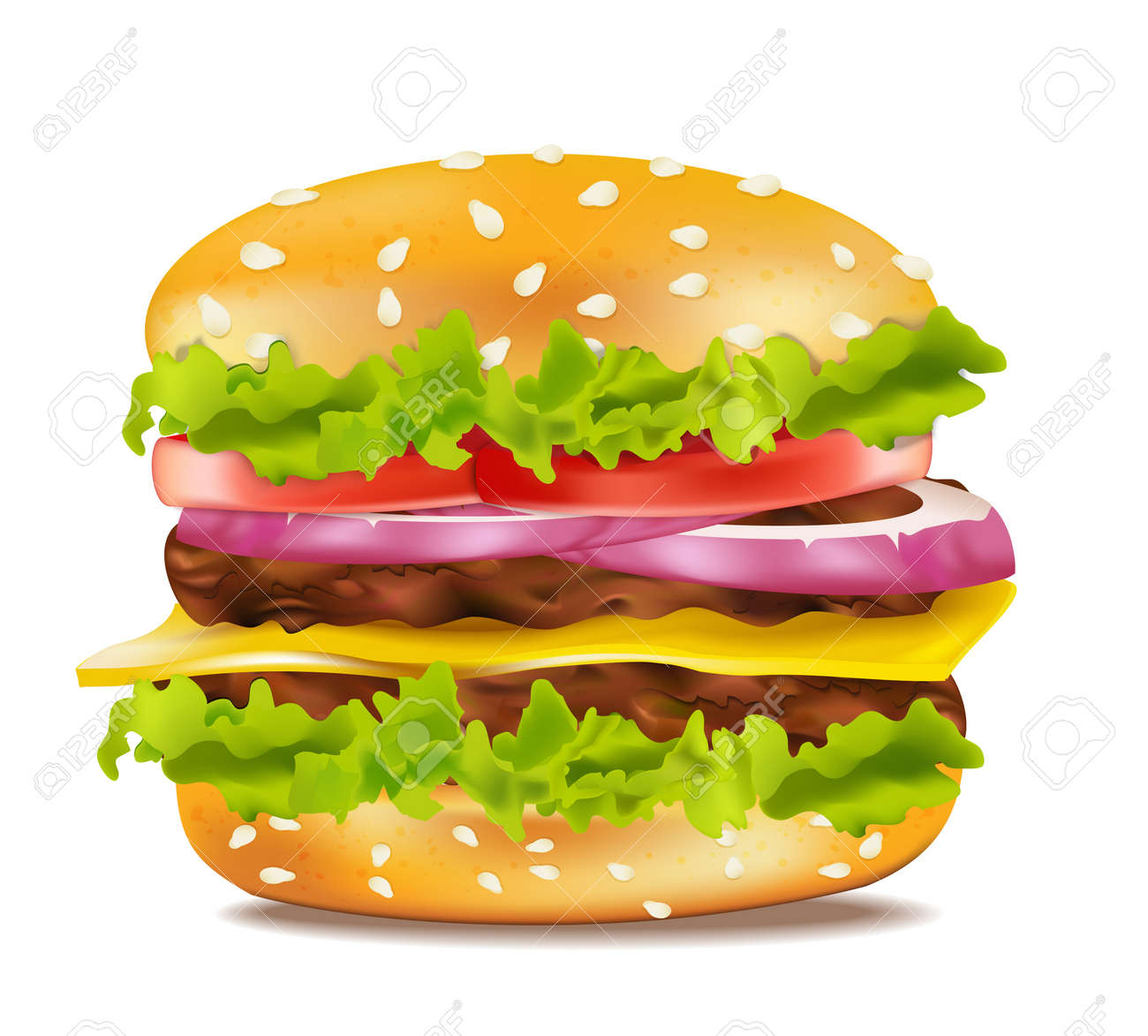 Vector cheeseburger on a white background - 9549740