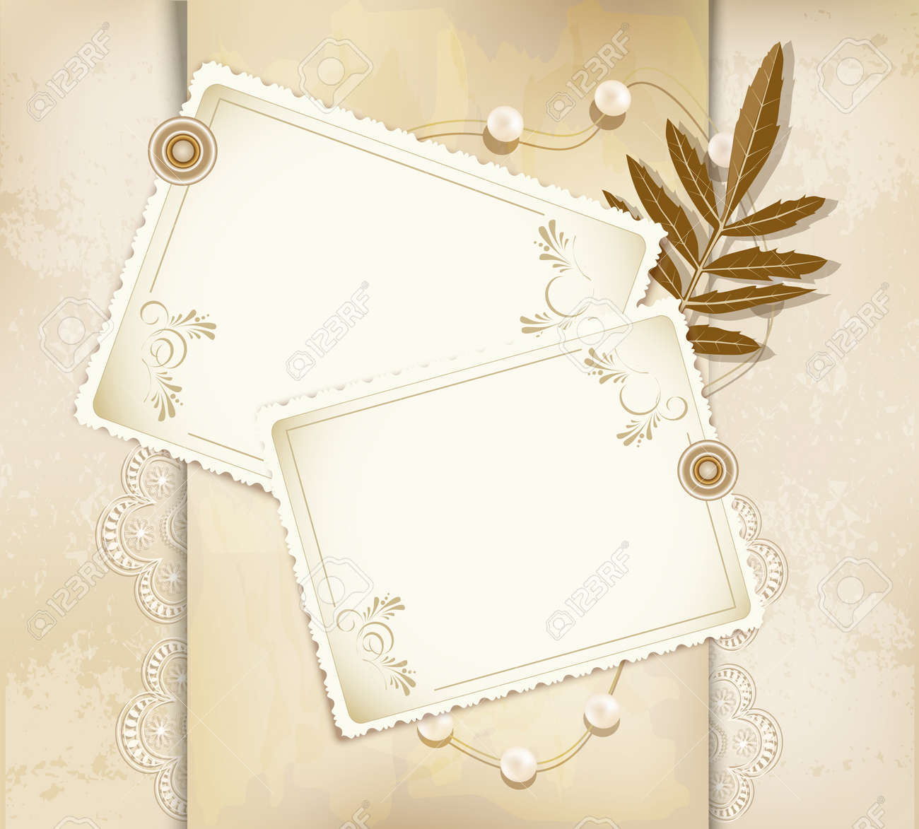 Grunge Vintage Background With A Greeting Card Pearls Flowers