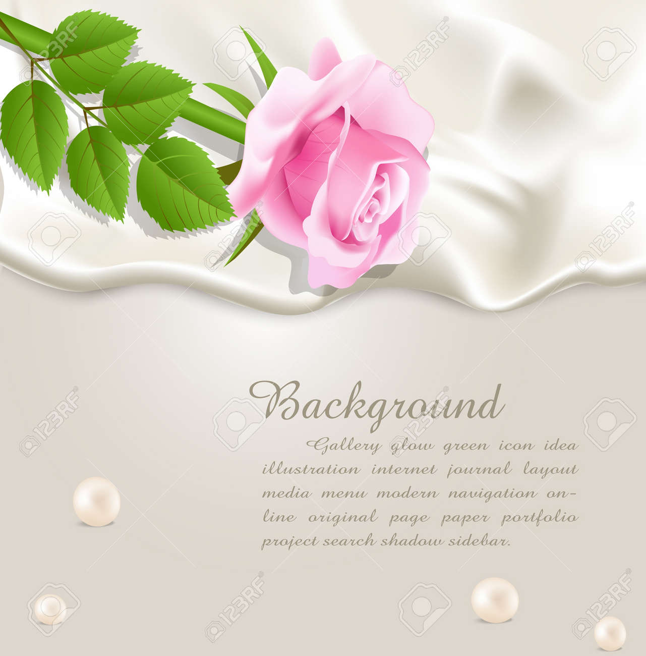Elegant holiday vector background with silk, pearls and a pink rose Stock Vector - 9930522