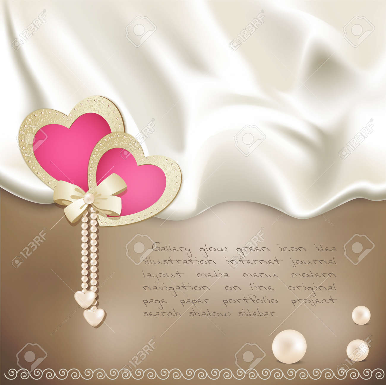 holiday background with beige silk, with two pink hearts and pearls Stock Vector - 10049567