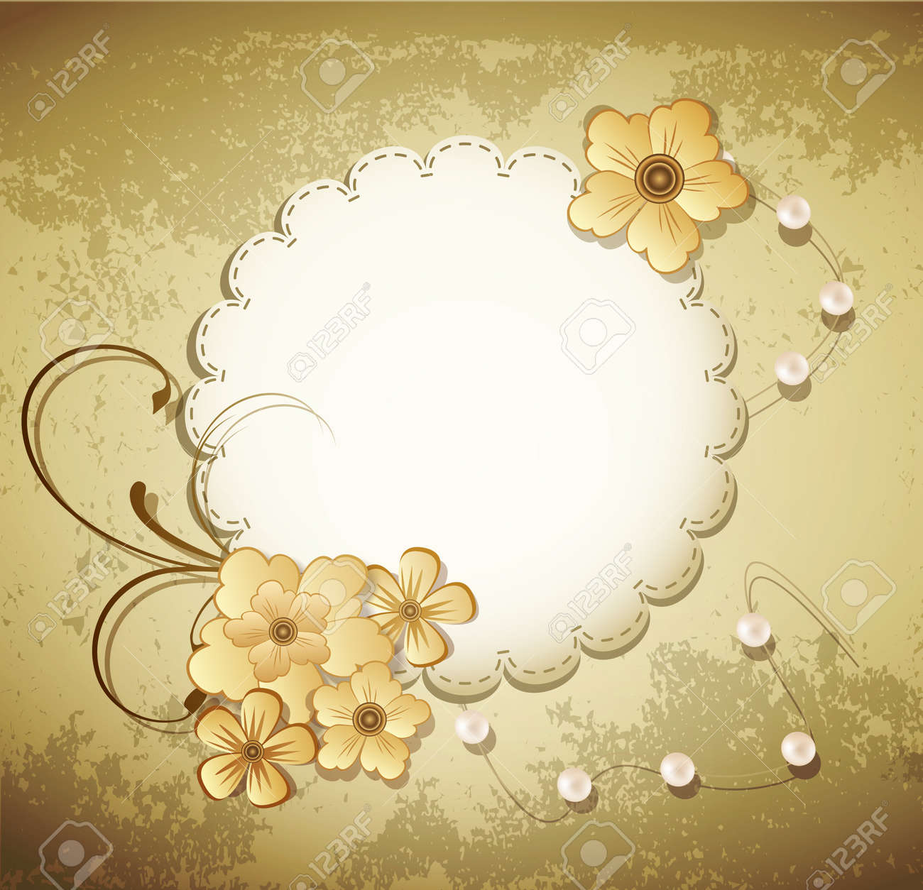 grunge, vintage background with a greeting card, pearls, flowers Stock Vector - 10049547