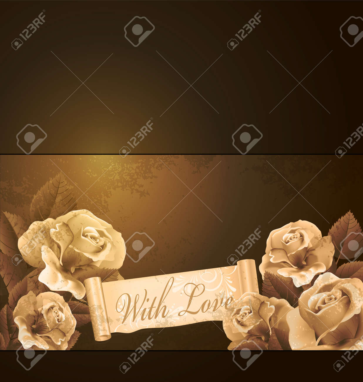 grunge, romantic, vintage background with roses Stock Vector - 10049553