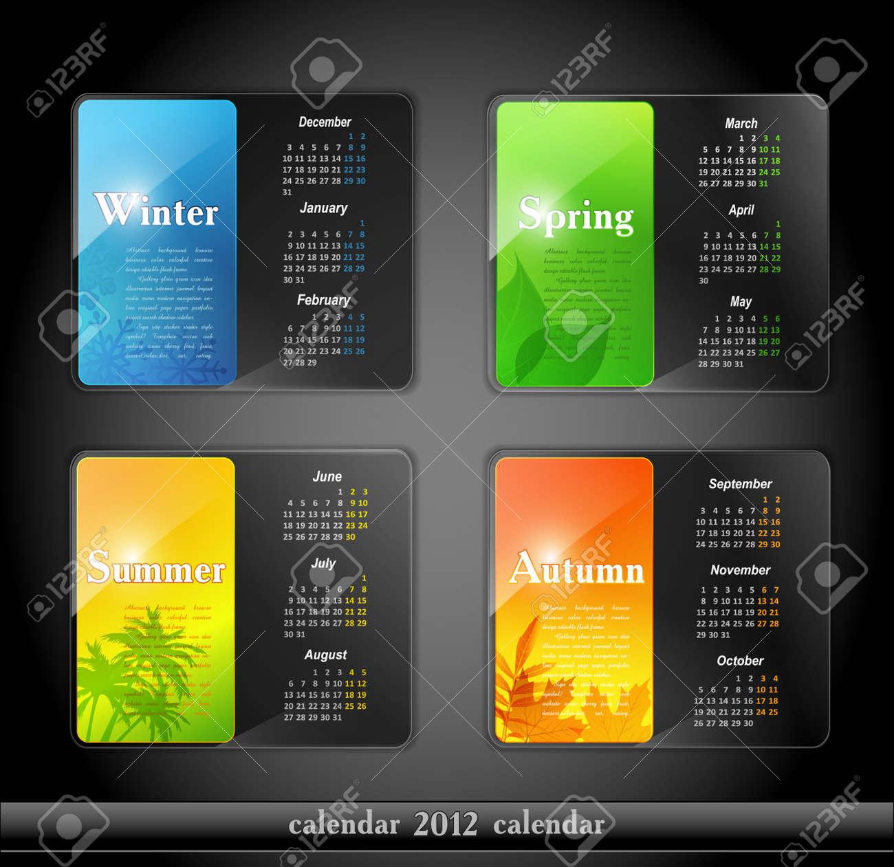 calendar 2012, with four seasons Stock Vector - 10422041