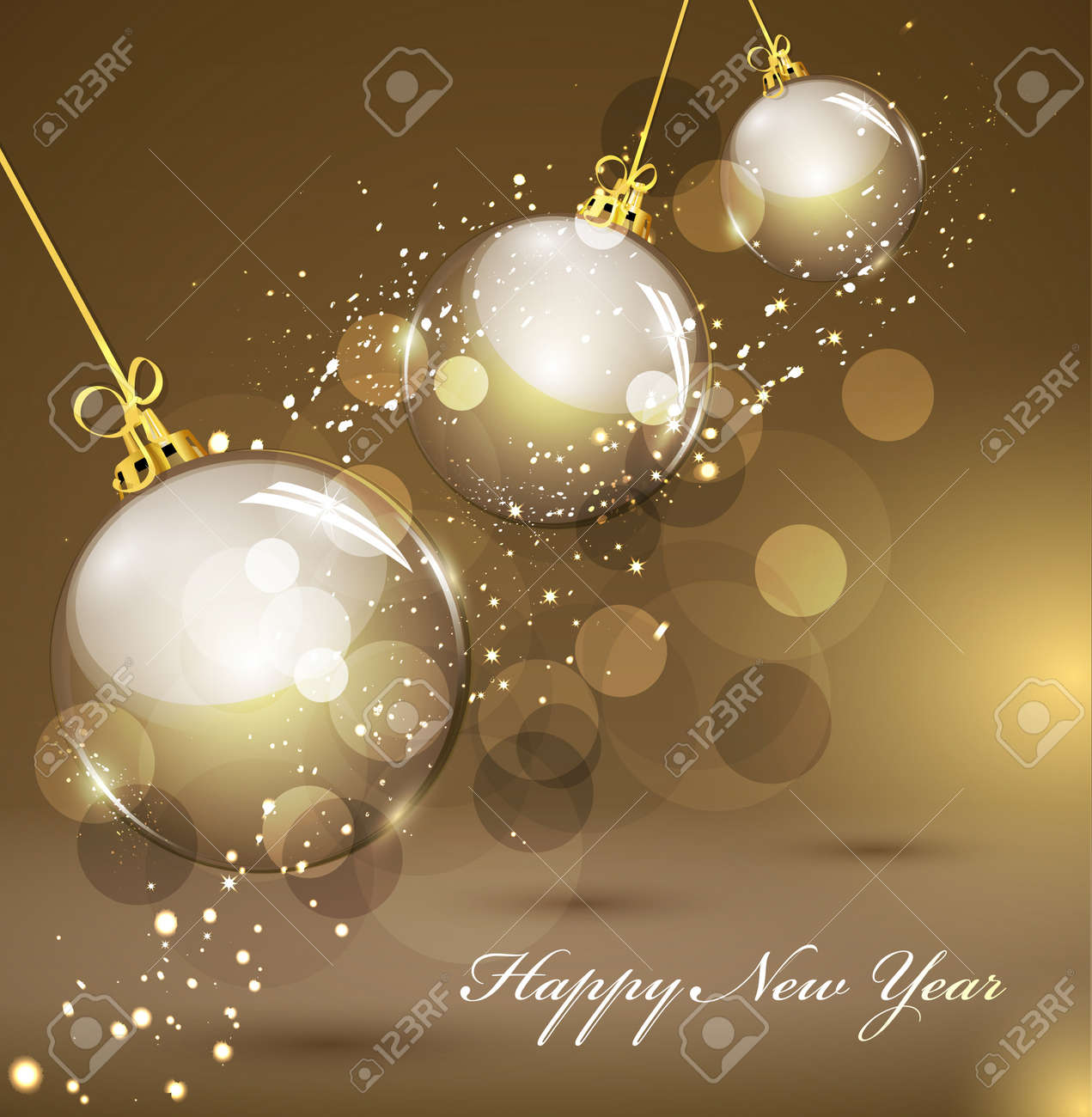 New Year's gold background with gold balls - 10864037