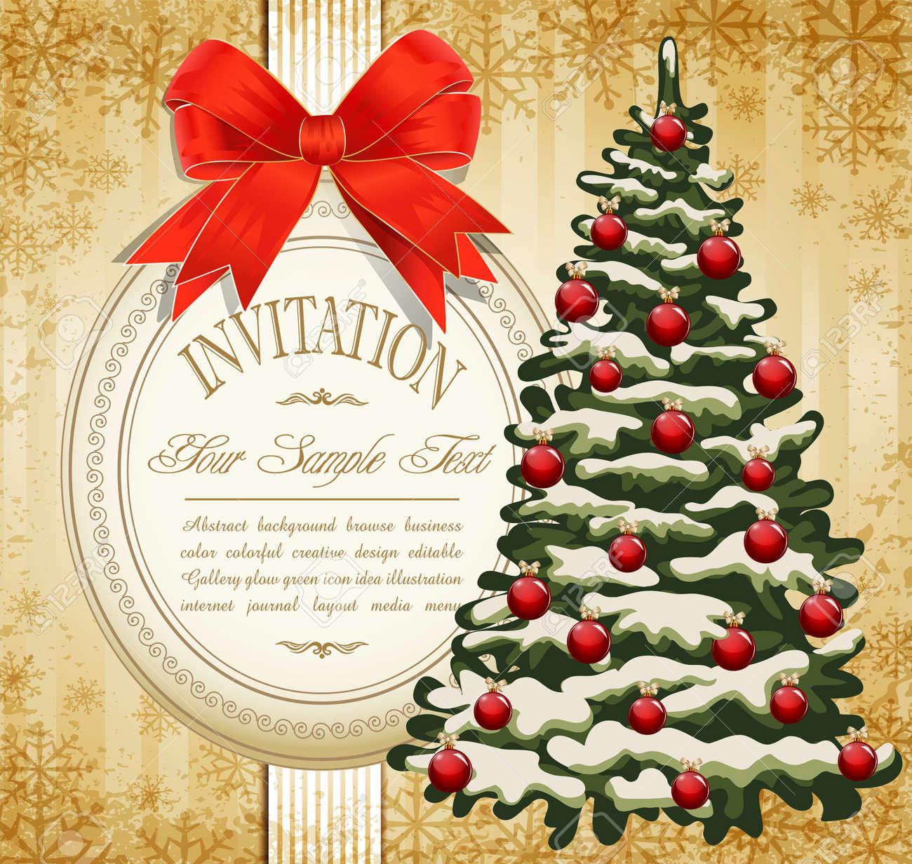 Vecteur Invitation De Fête à L'arbre De Noël Et L'arc Rouge Clip
