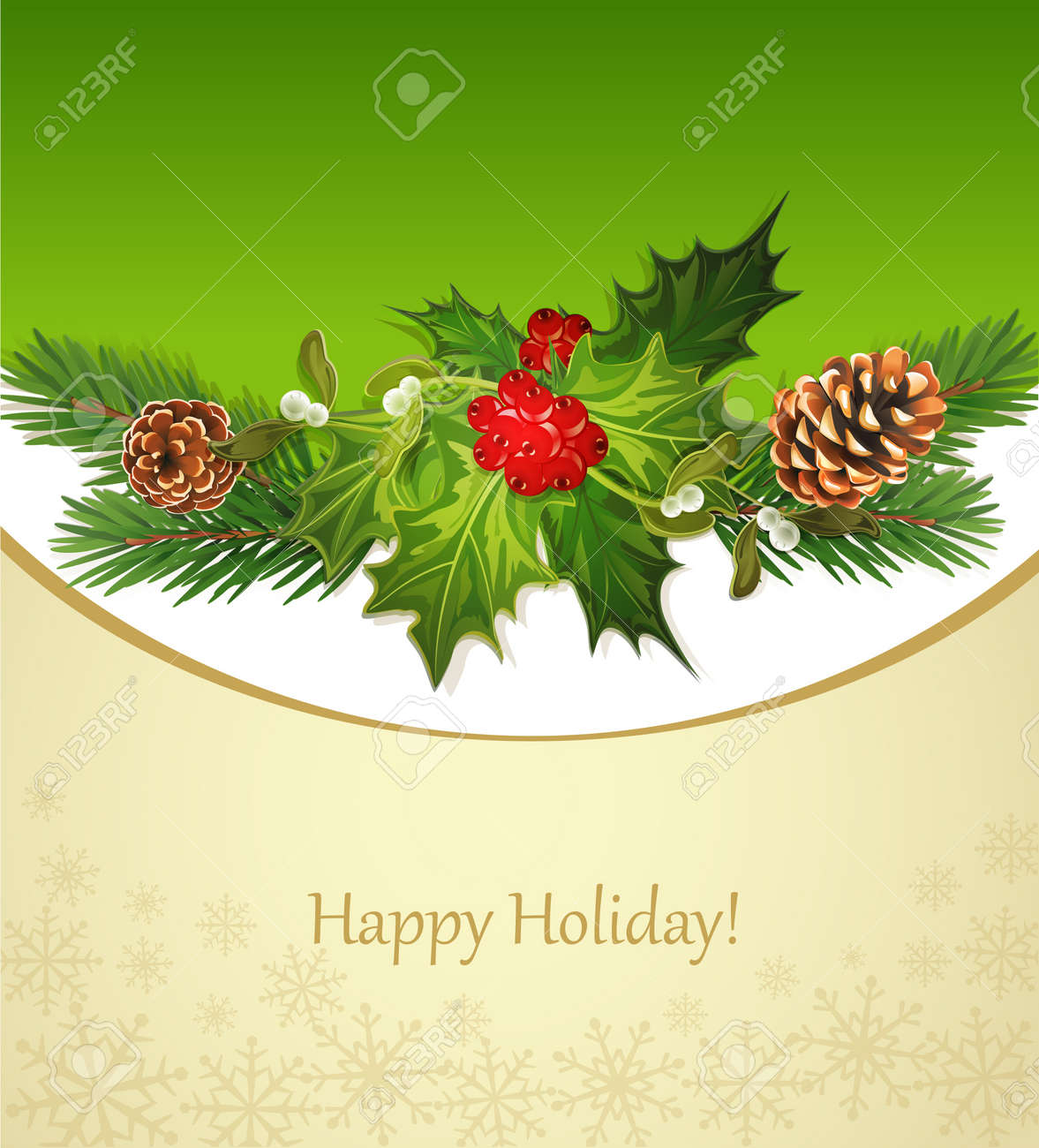 vector holiday background, tree, pine cones, holly and the frame Stock Vector - 11282718